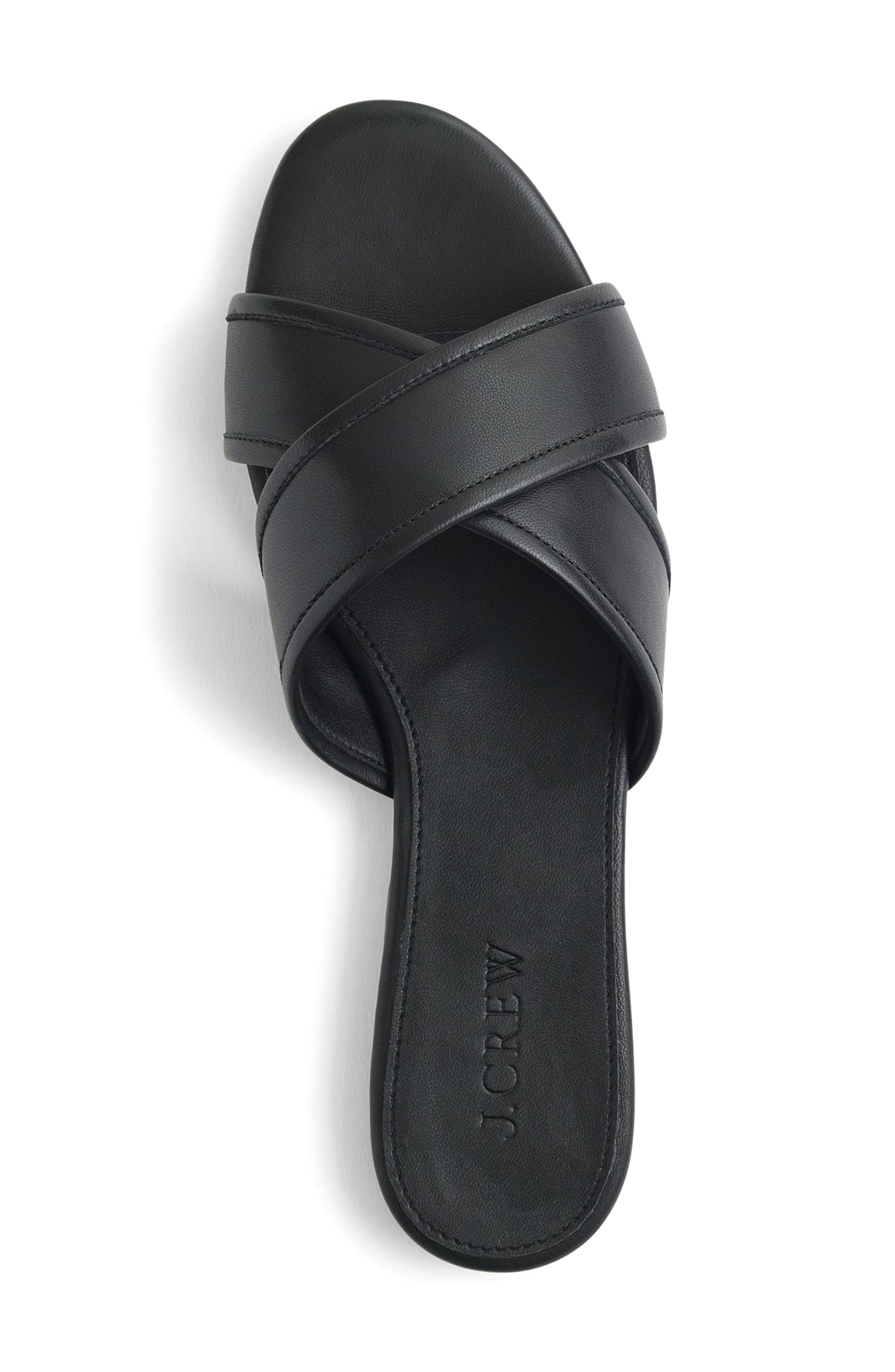 J.Crew Cora Slide Sandal,                             Alternate thumbnail 3, color,                             Black Fabric
