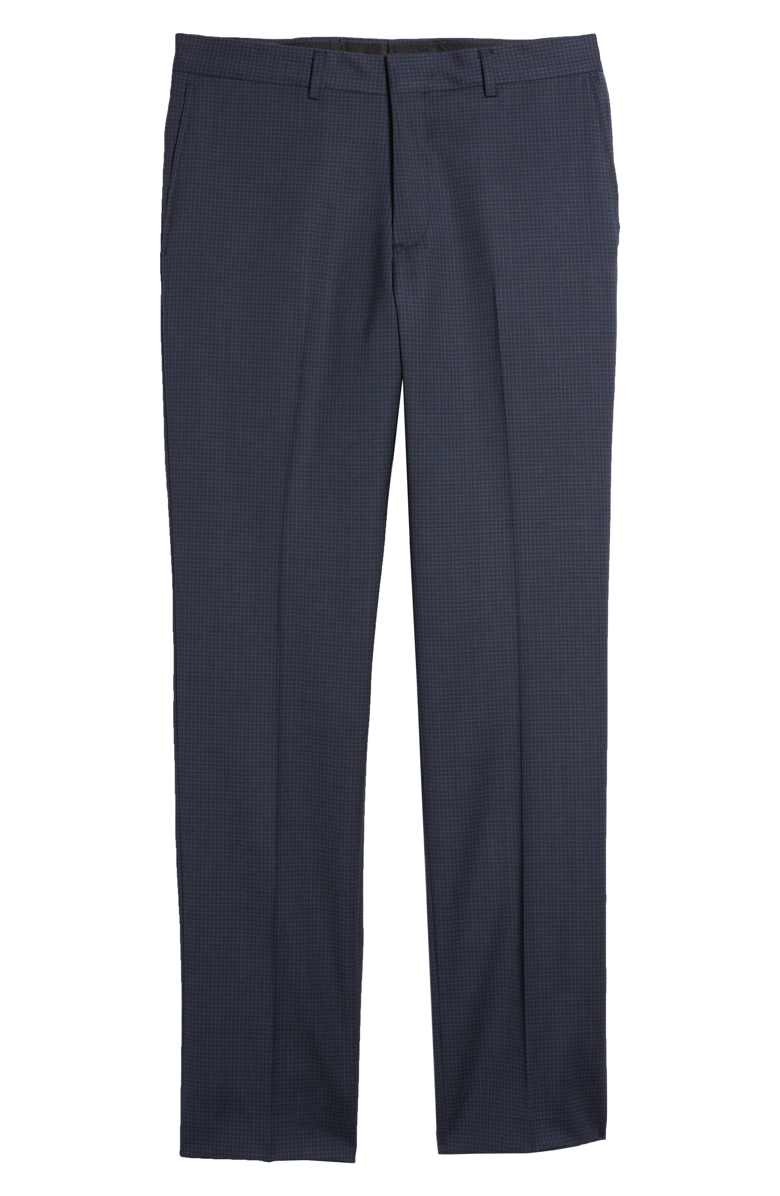 Tech-Smart Check Flat Front Stretch Wool Pants,                             Alternate thumbnail 6, color,                             Navy
