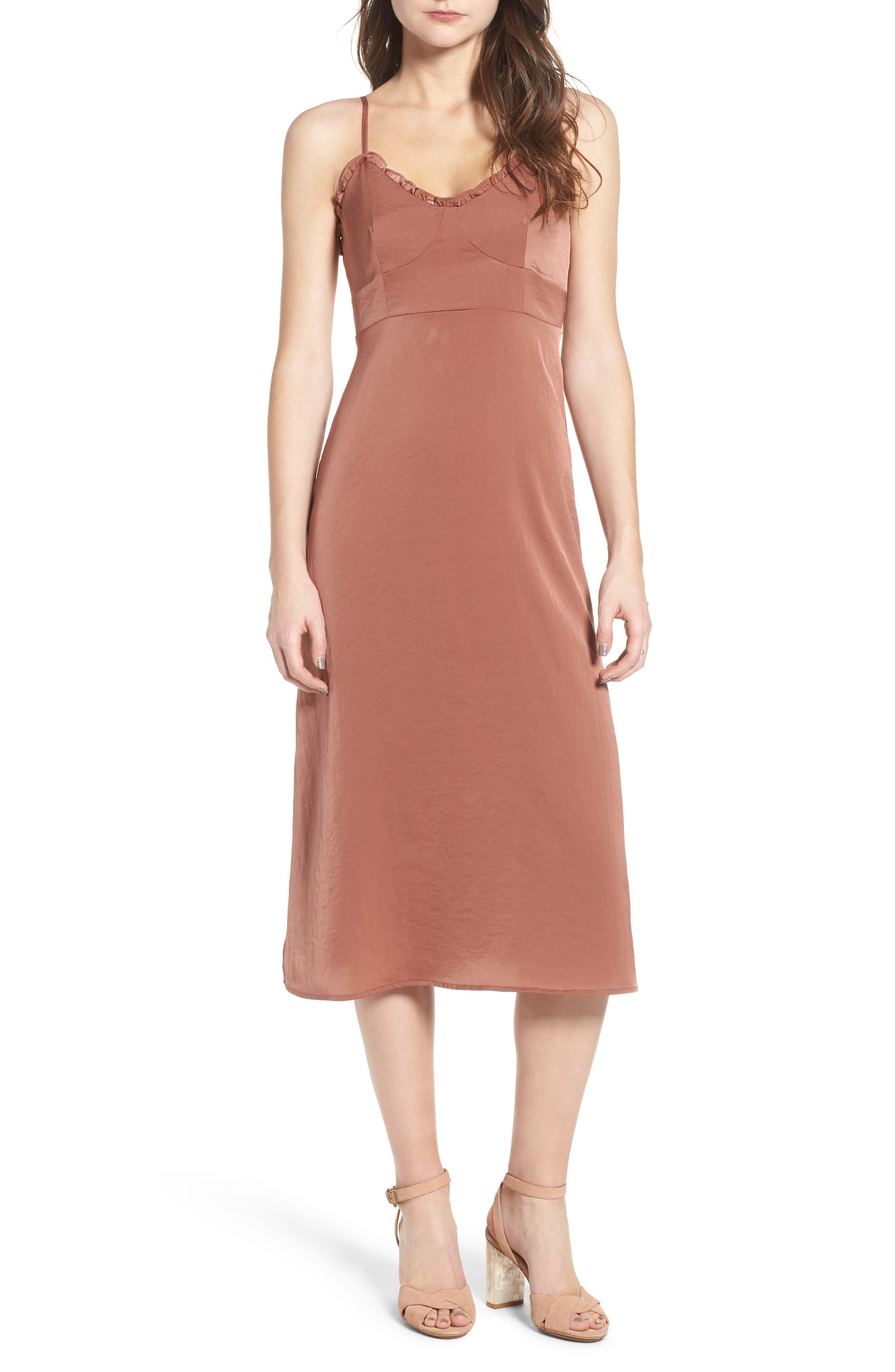 Ali Ruffle Trim Satin A-Line Midi Dress,                         Main,                         color, Terracotta