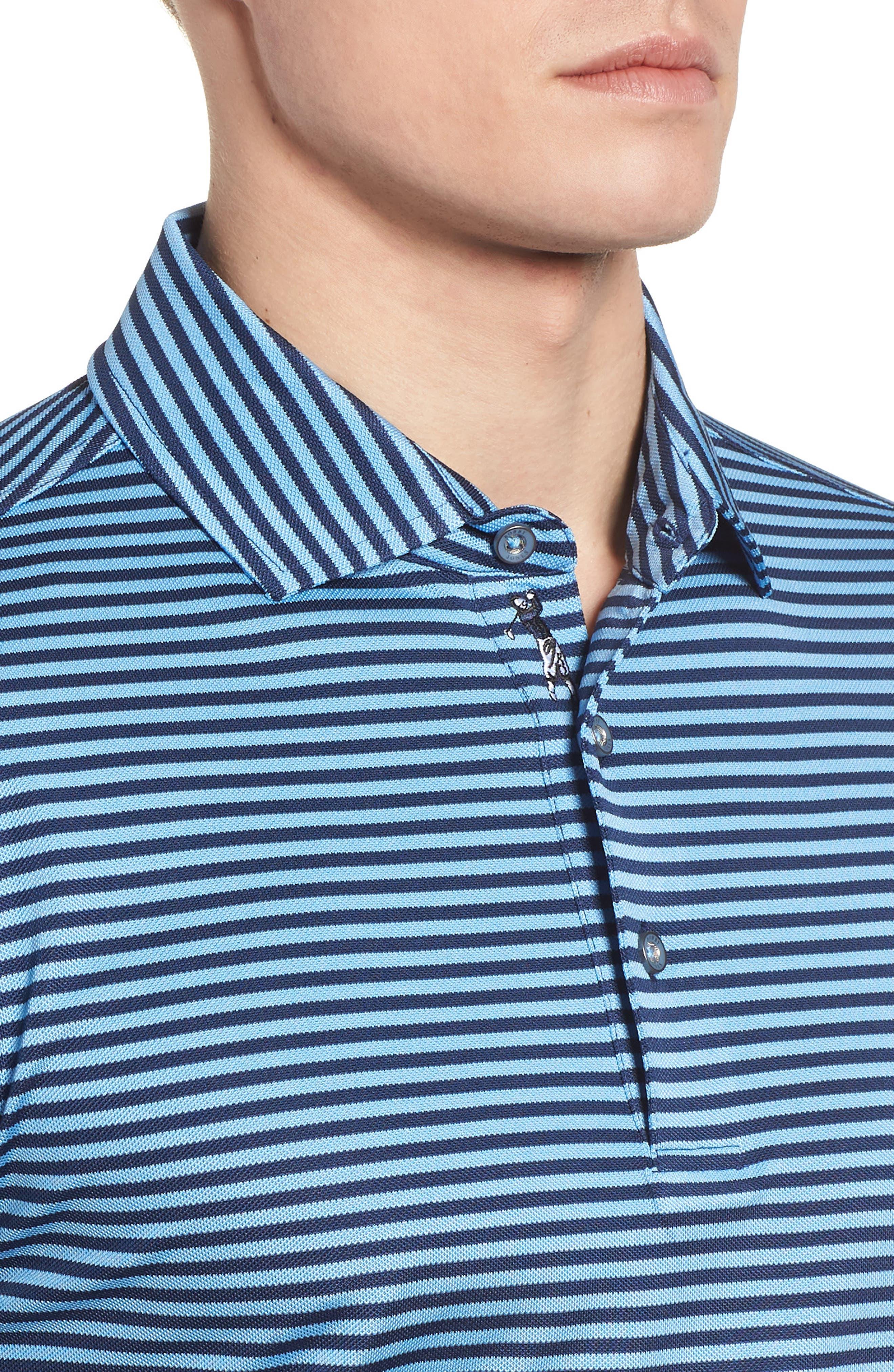 XH2O Feed Stripe Stretch Golf Polo,                             Alternate thumbnail 4, color,                             Sky Blue