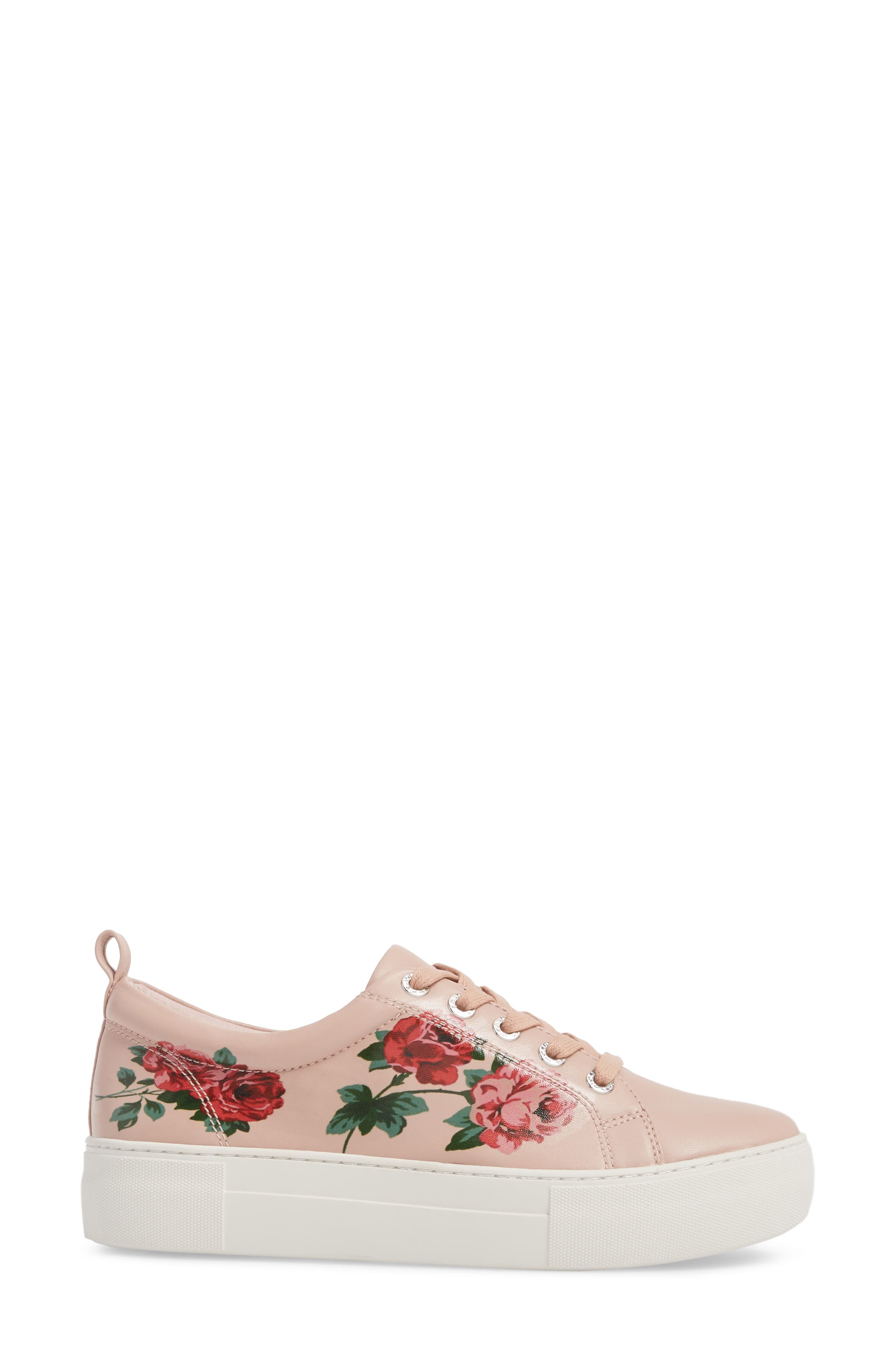 Adel Floral Sneaker,                             Alternate thumbnail 3, color,                             Pink Leather