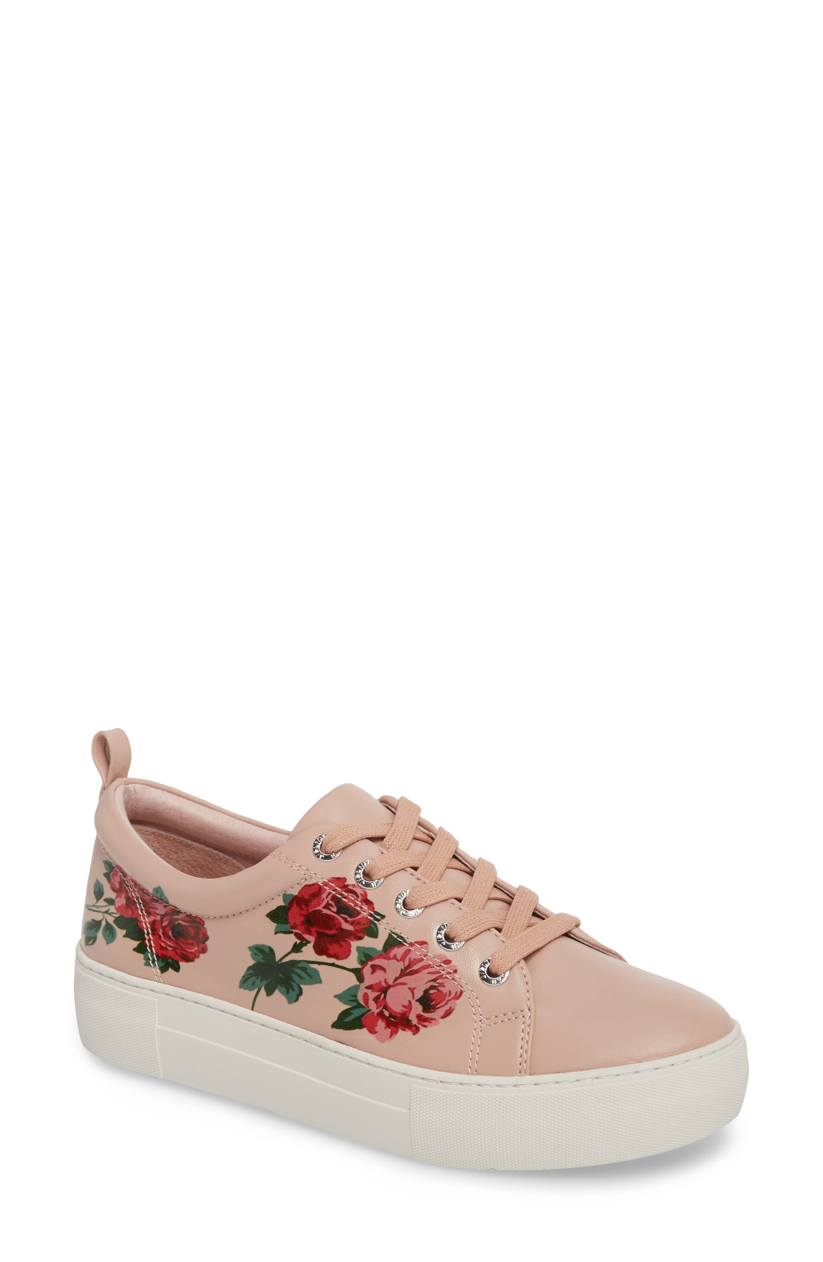 Adel Floral Sneaker,                         Main,                         color, Pink Leather
