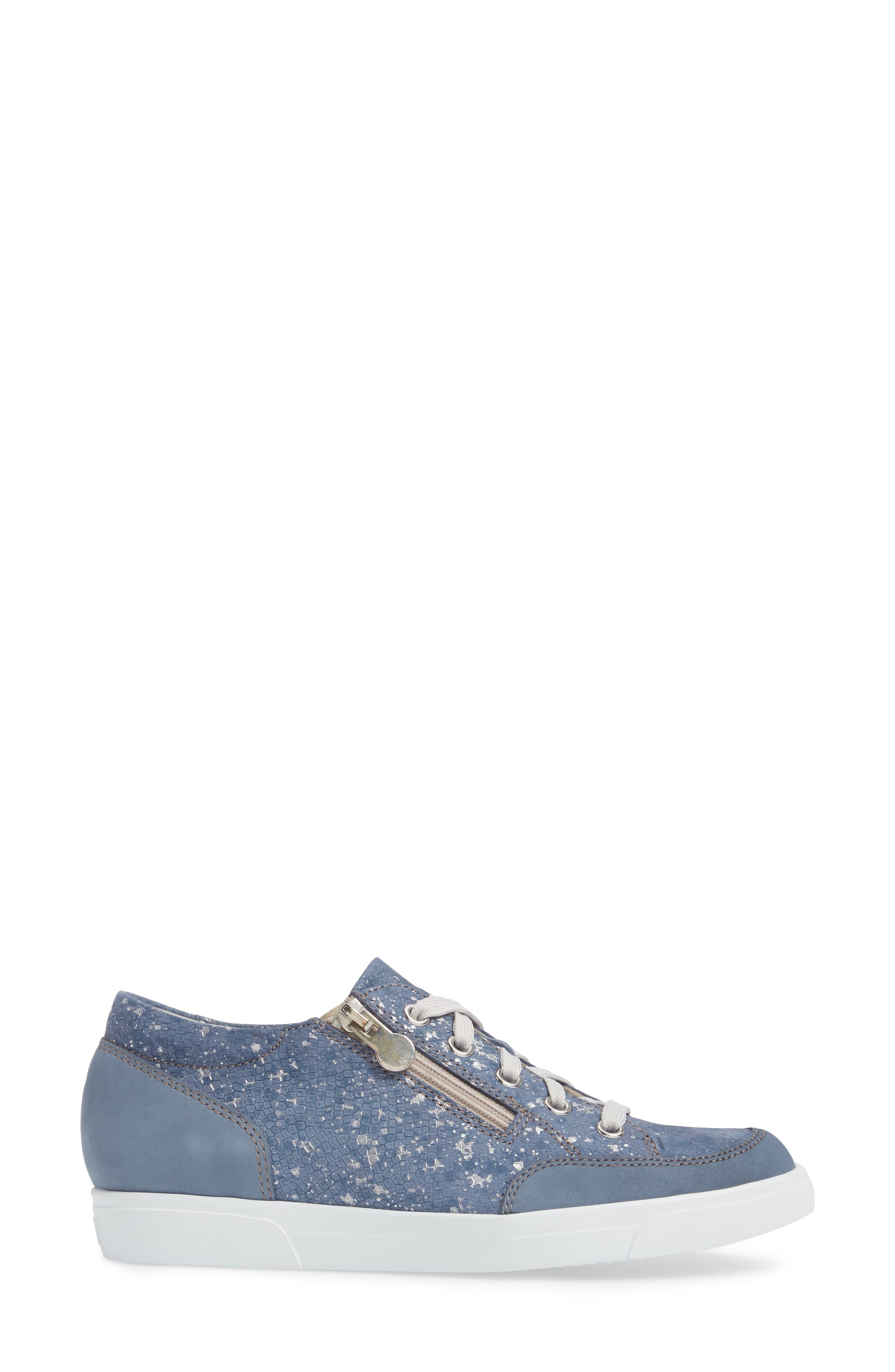 Gabbie Sneaker,                             Alternate thumbnail 3, color,                             Denim Metallic Print