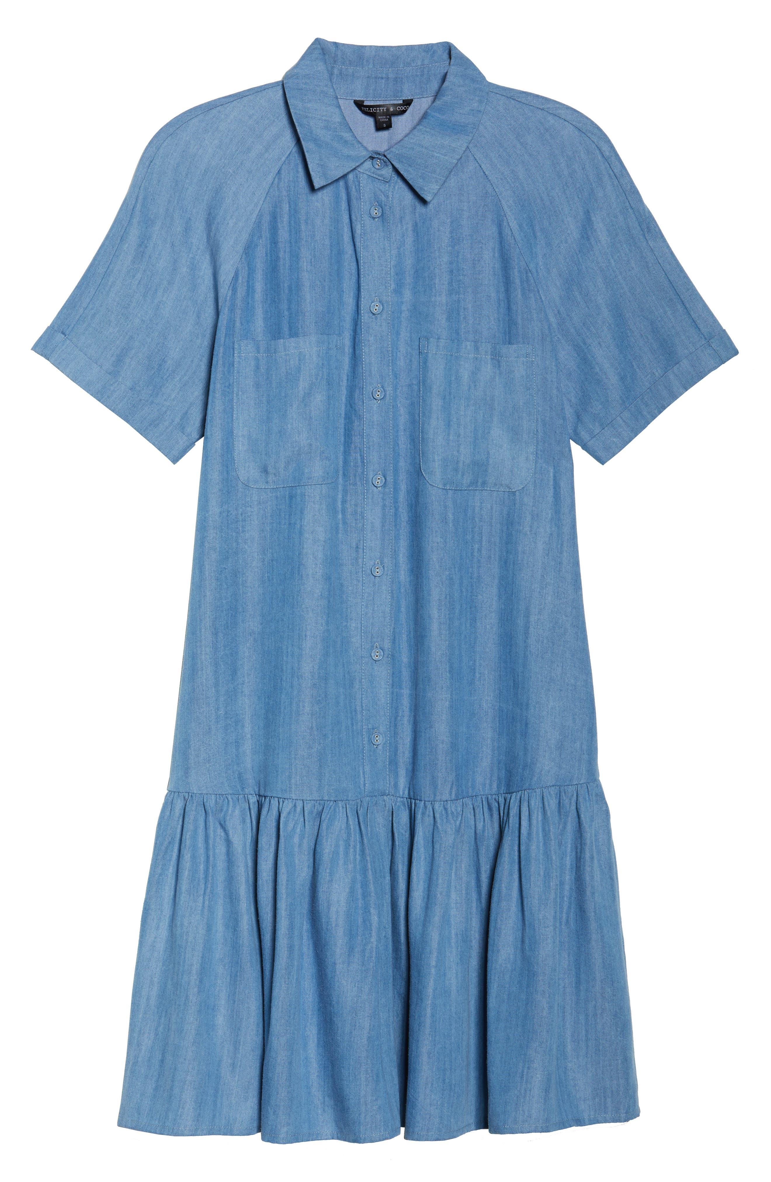 Maven Ruffle Shirtdress,                             Alternate thumbnail 6, color,                             Washed Indigo