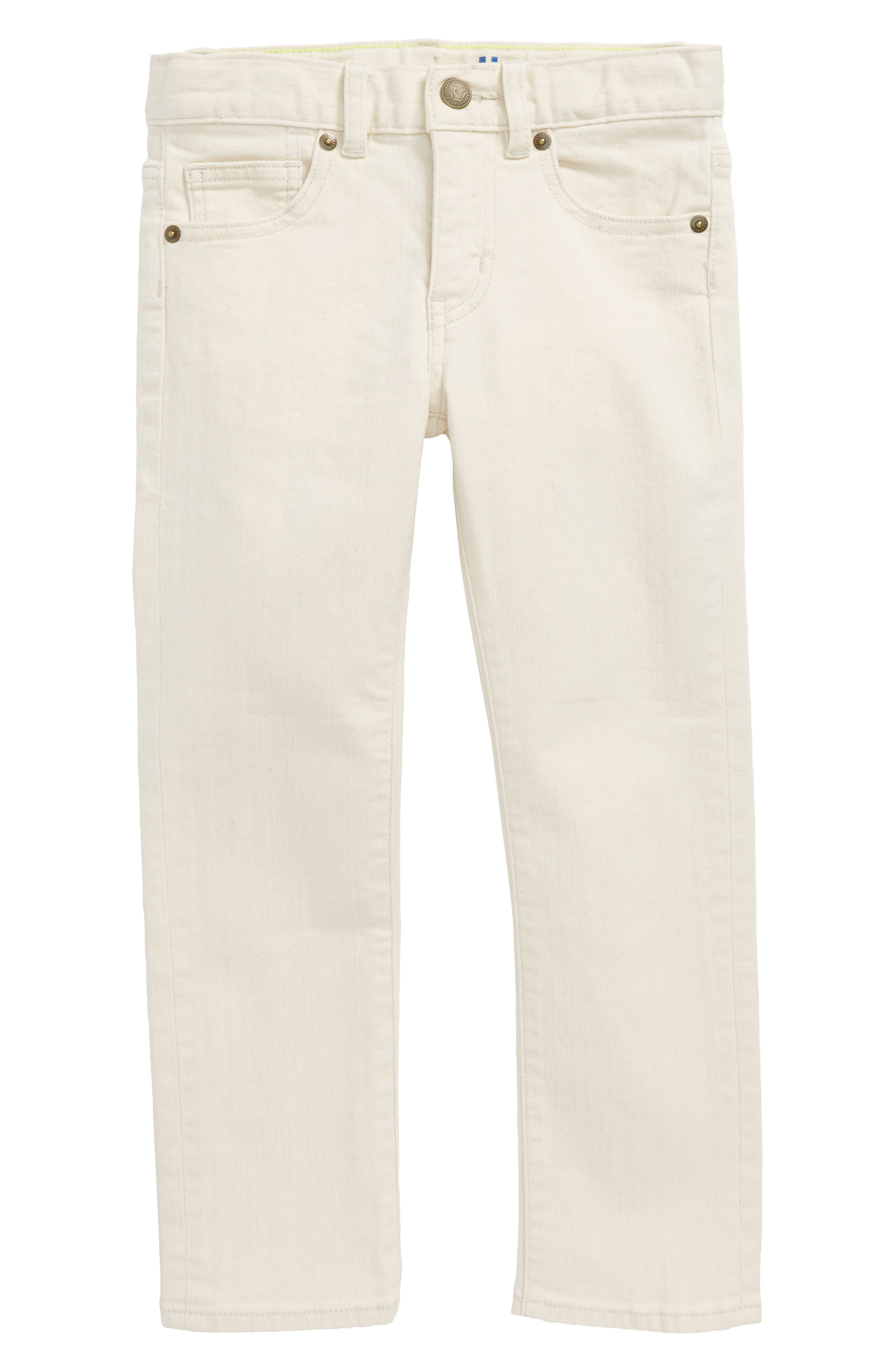 Ecru Slim Fit Pants,                         Main,                         color, Ecru