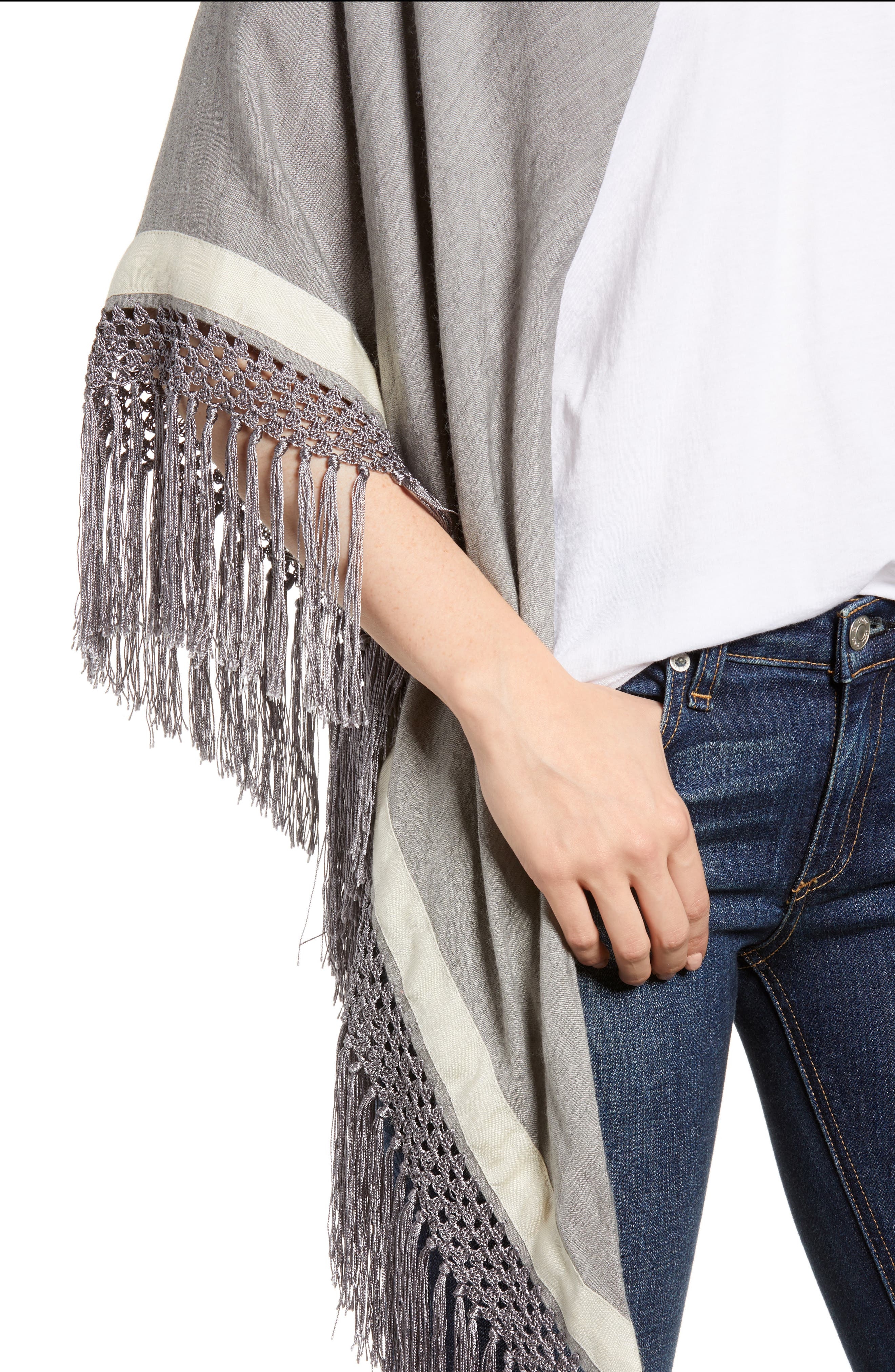 Sport Stripe Silk & Wool Poncho,                             Alternate thumbnail 4, color,                             Heather Grey