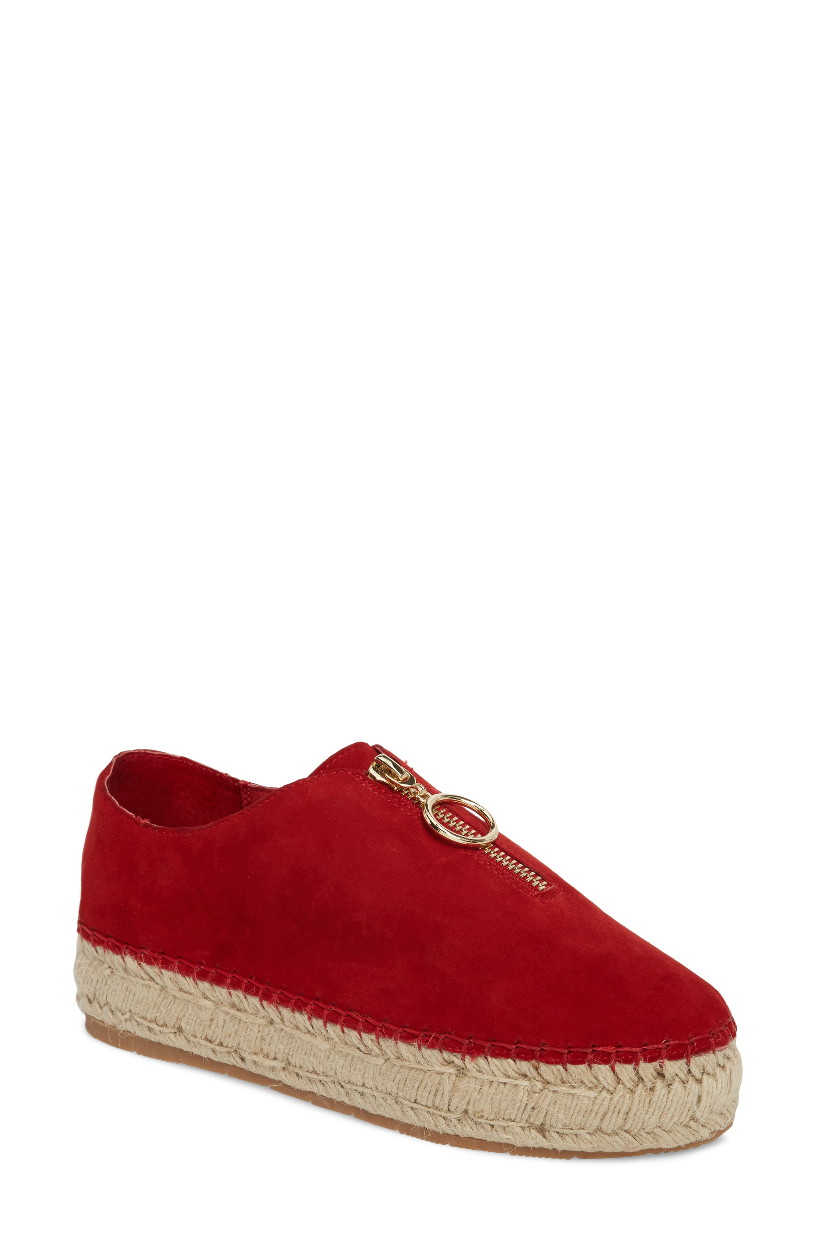 Ryan Espadrille Flat,                         Main,                         color, Red Leather