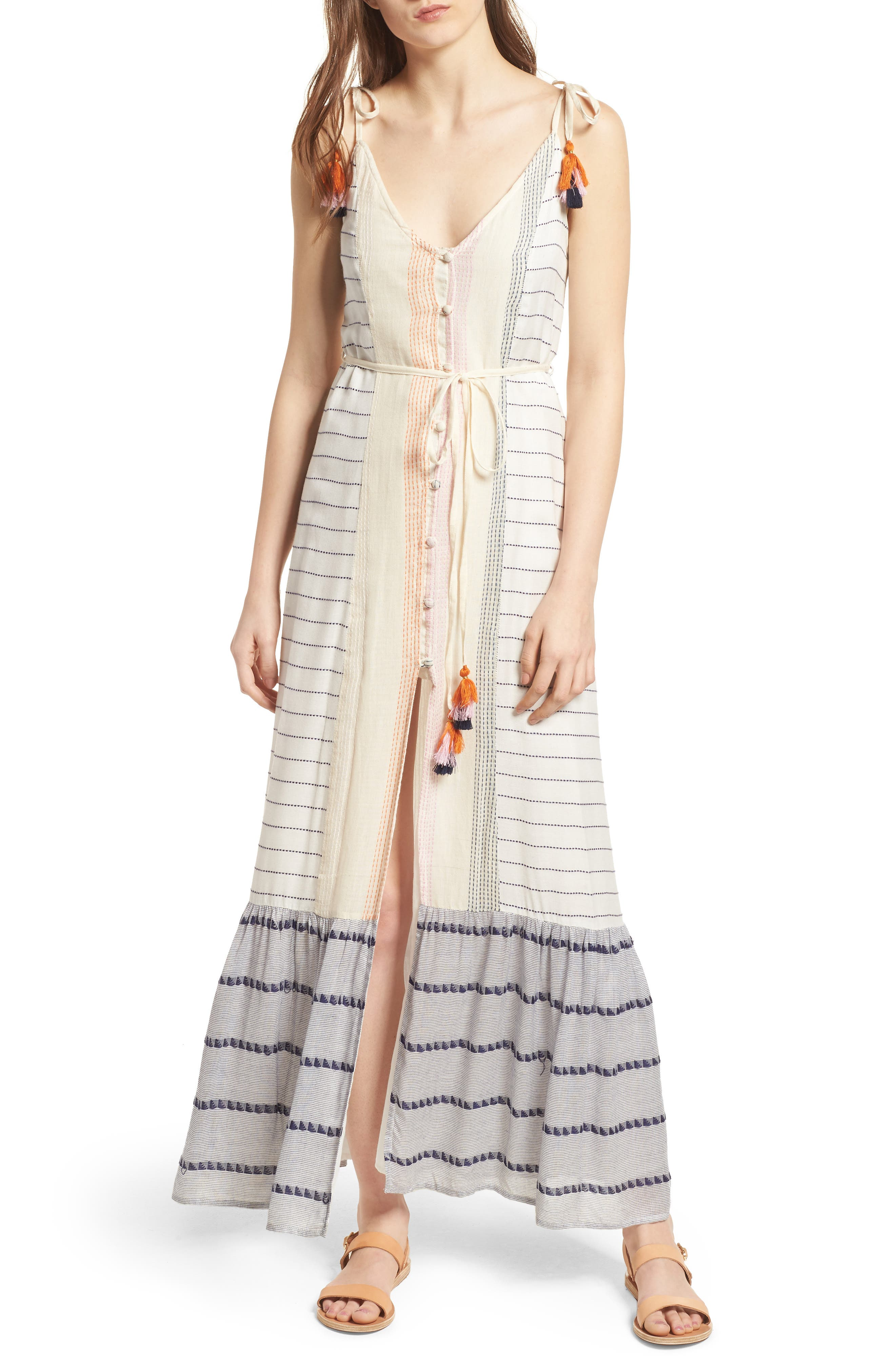 Villa Maxi Dress,                         Main,                         color, Calamar Stripe