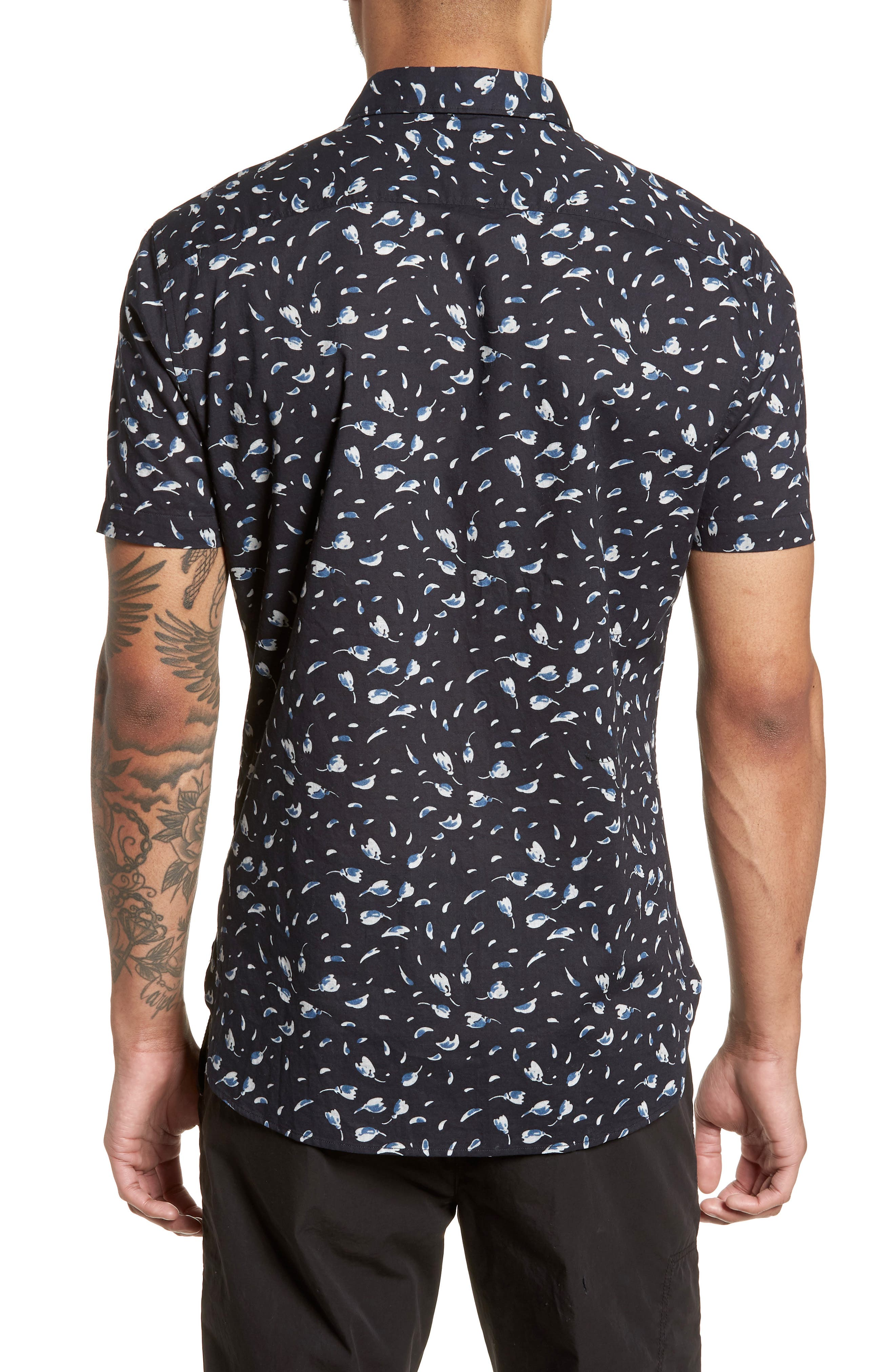 Extra Slim Fit Print Sport Shirt,                             Alternate thumbnail 3, color,                             Mercury Grey