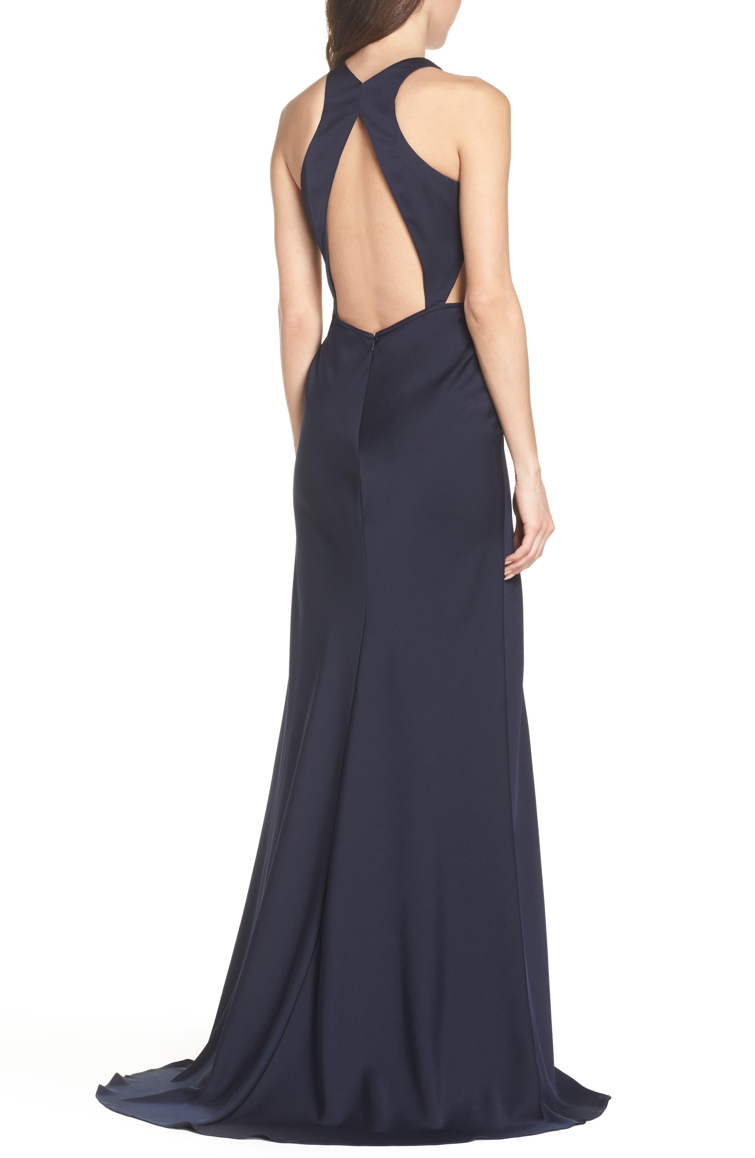 Alternate Image 2  - La Femme Cutout Detail Satin Gown
