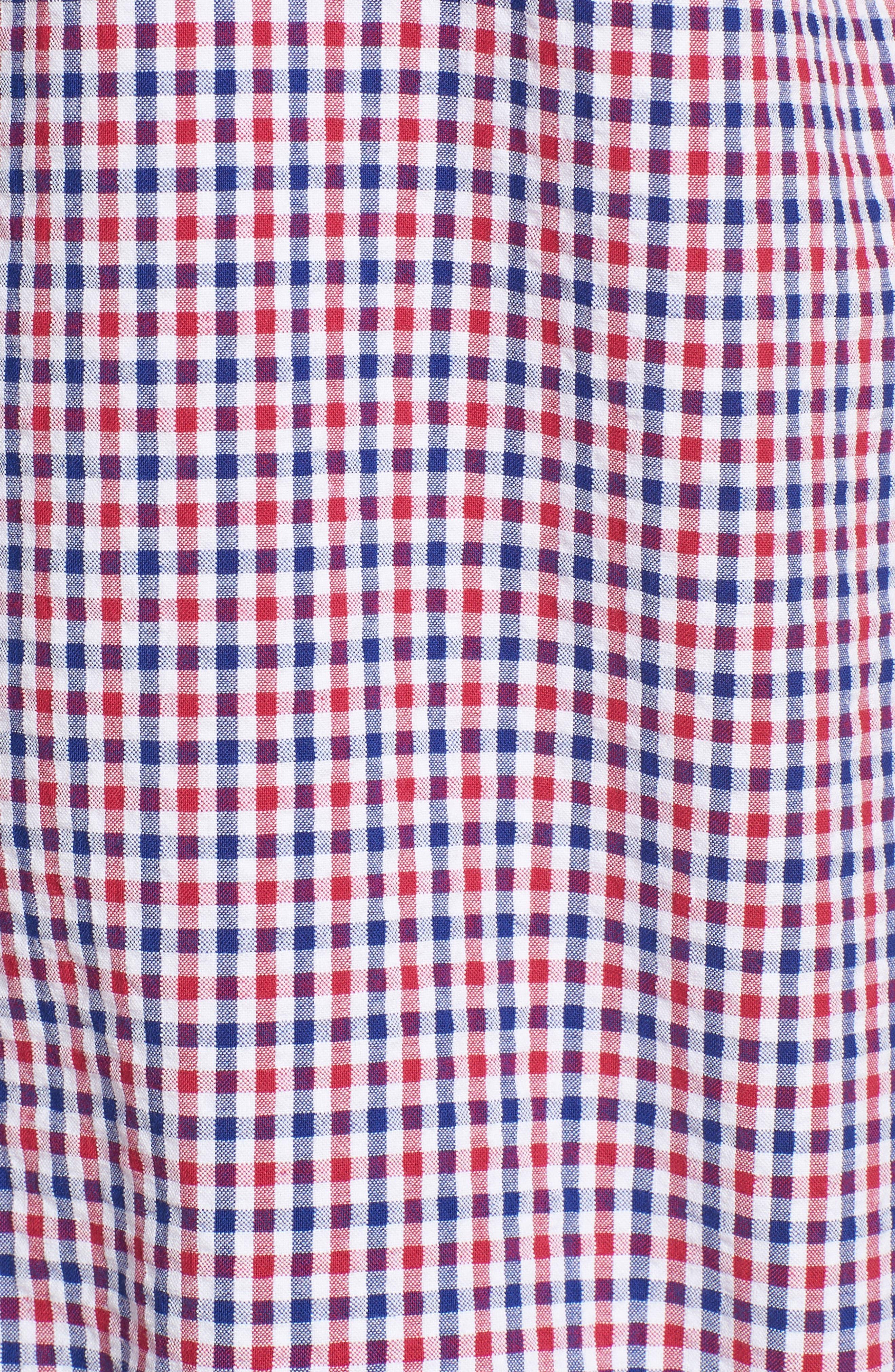 Taylor Regular Fit Check Short Sleeve Sport Shirt,                             Alternate thumbnail 5, color,                             Navy