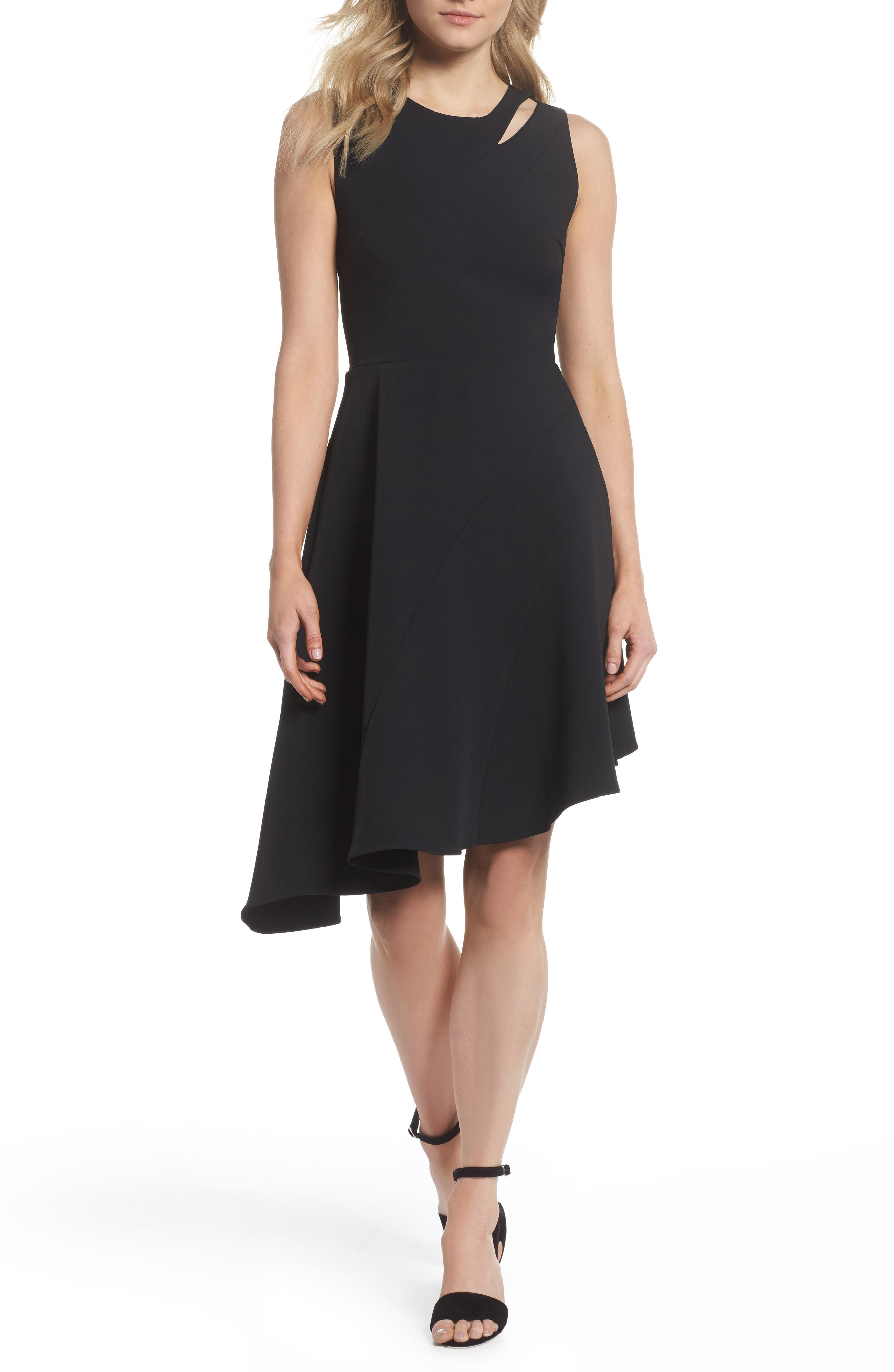 Bonnie Asymmetrical Fit & Flare Dress,                         Main,                         color, Black