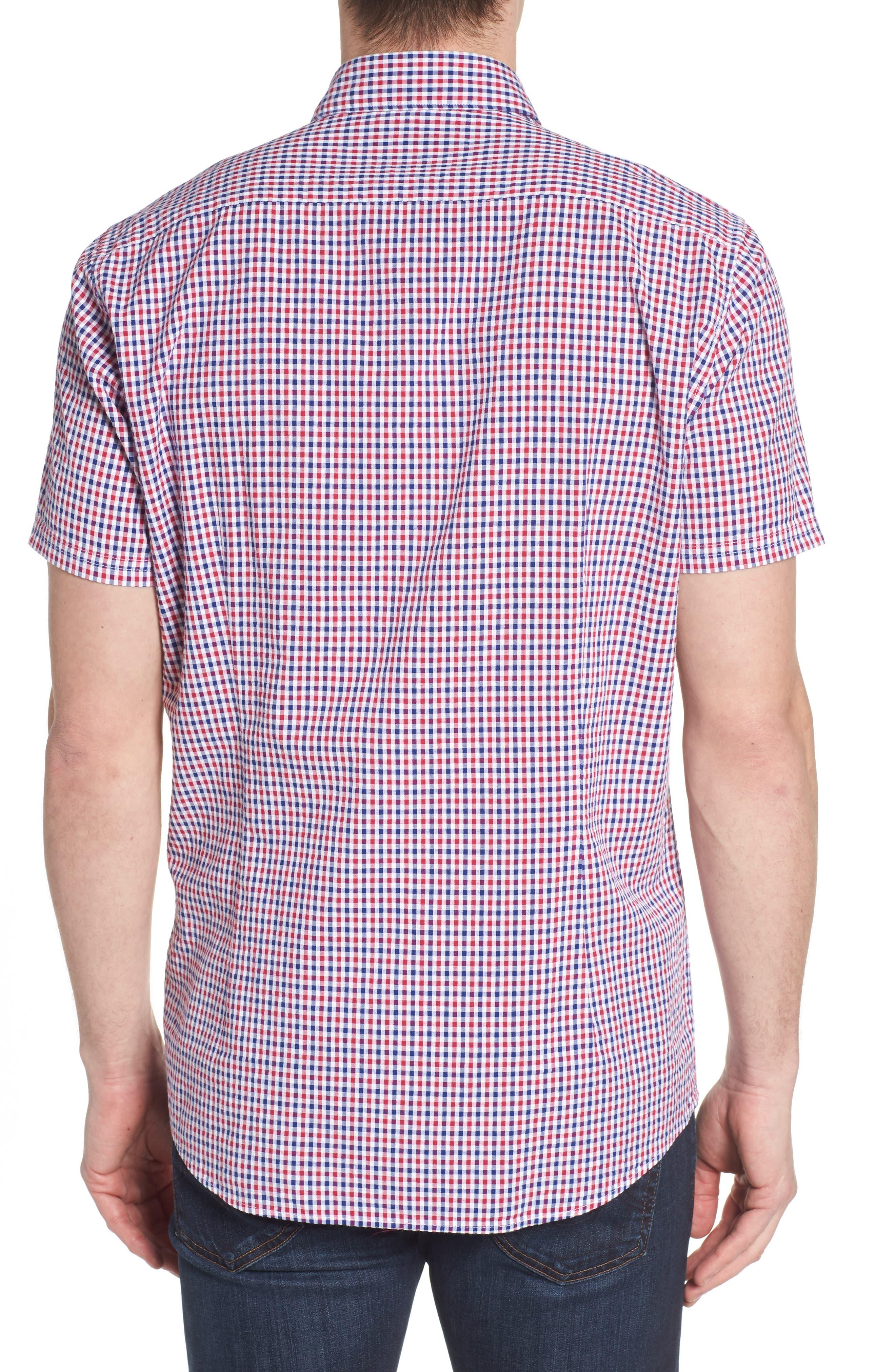 Taylor Regular Fit Check Short Sleeve Sport Shirt,                             Alternate thumbnail 3, color,                             Navy
