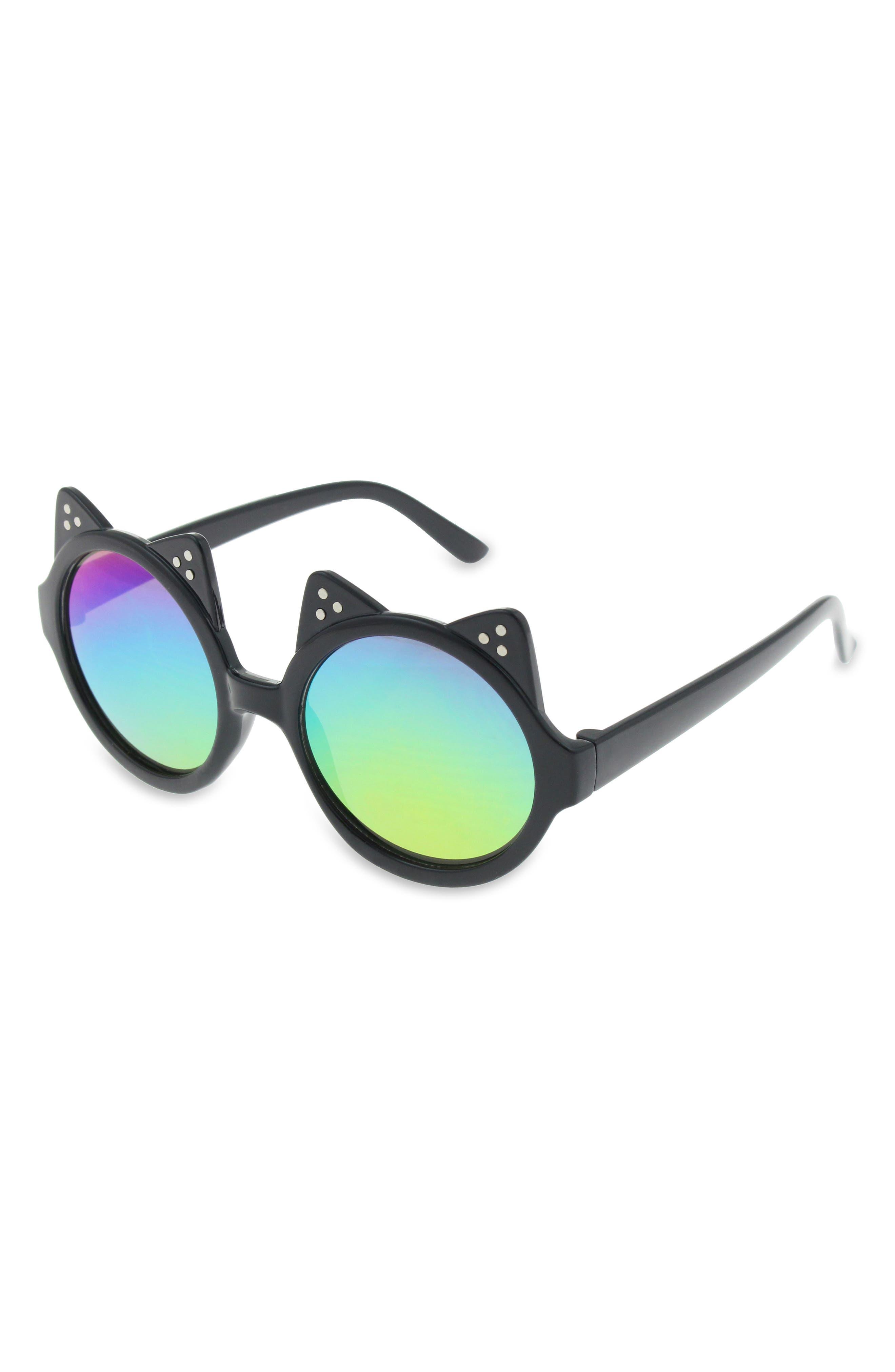 Double Cat Ear Sunglasses,                             Main thumbnail 1, color,                             Black