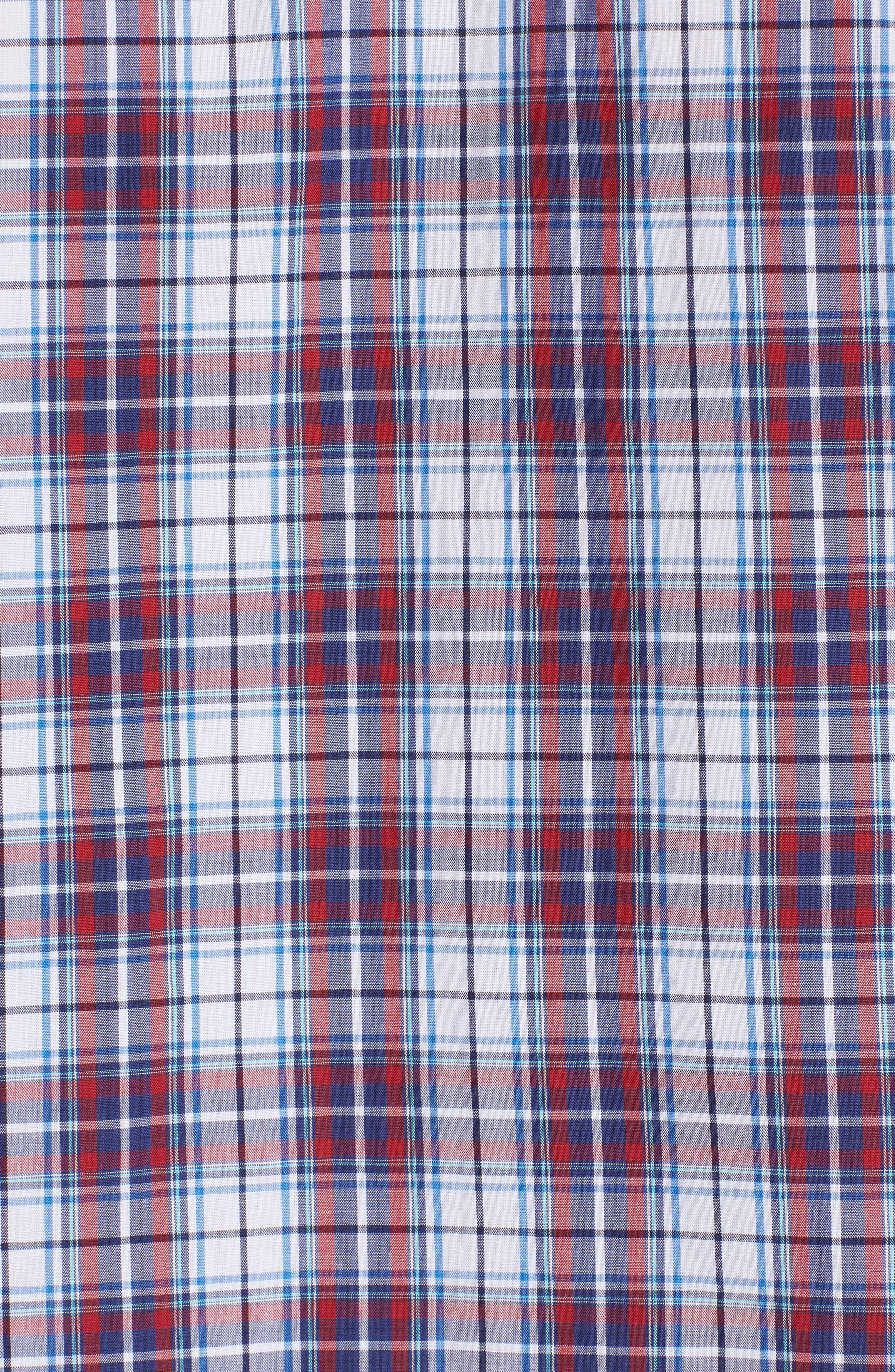 Leo Trim Fit Plaid Sport Shirt,                             Alternate thumbnail 5, color,                             Red