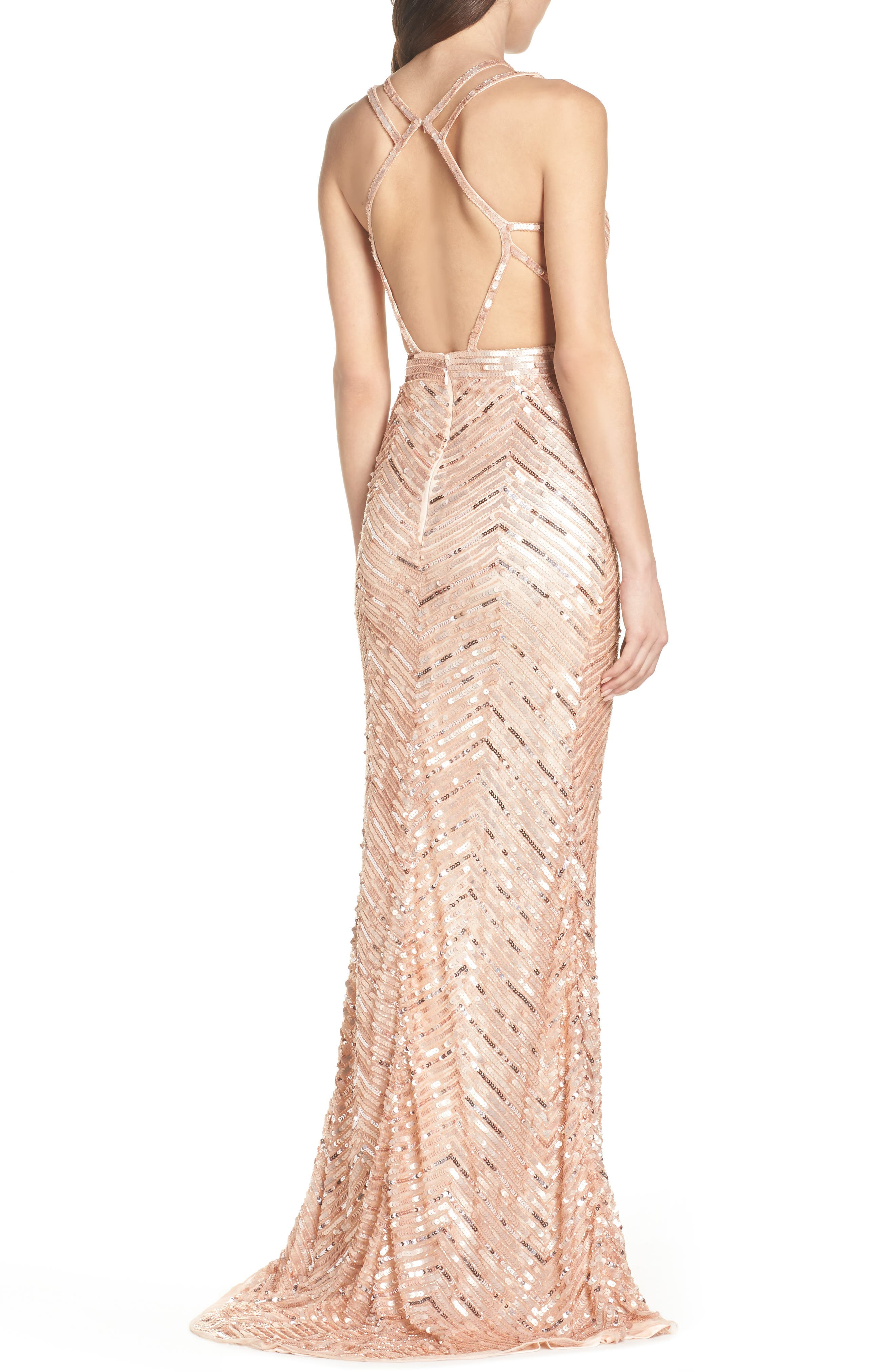 Sequin Strappy Gown,                             Alternate thumbnail 2, color,                             Rose Gold