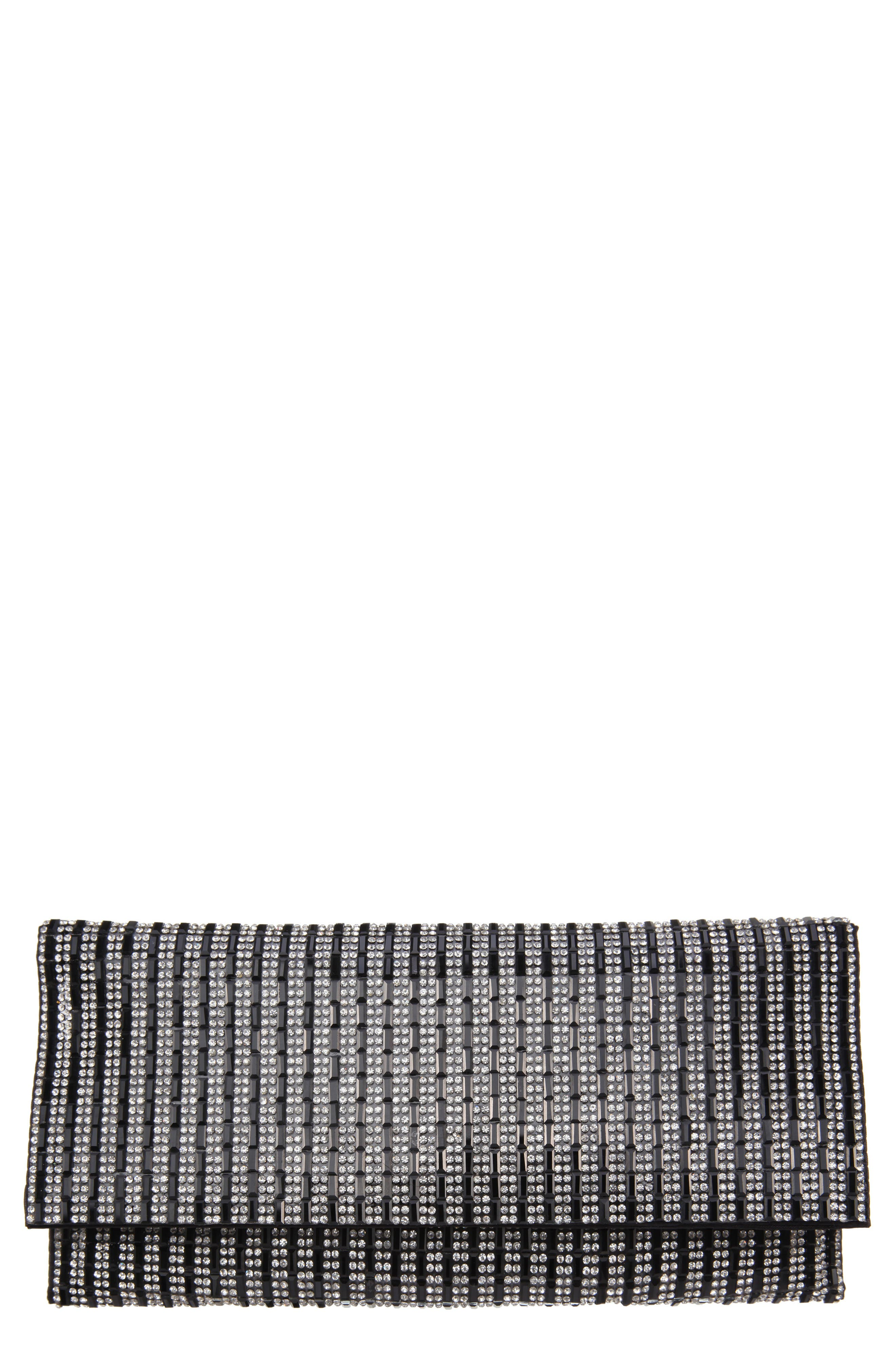 Crystal Embellished Clutch,                             Main thumbnail 1, color,                             Black/ White
