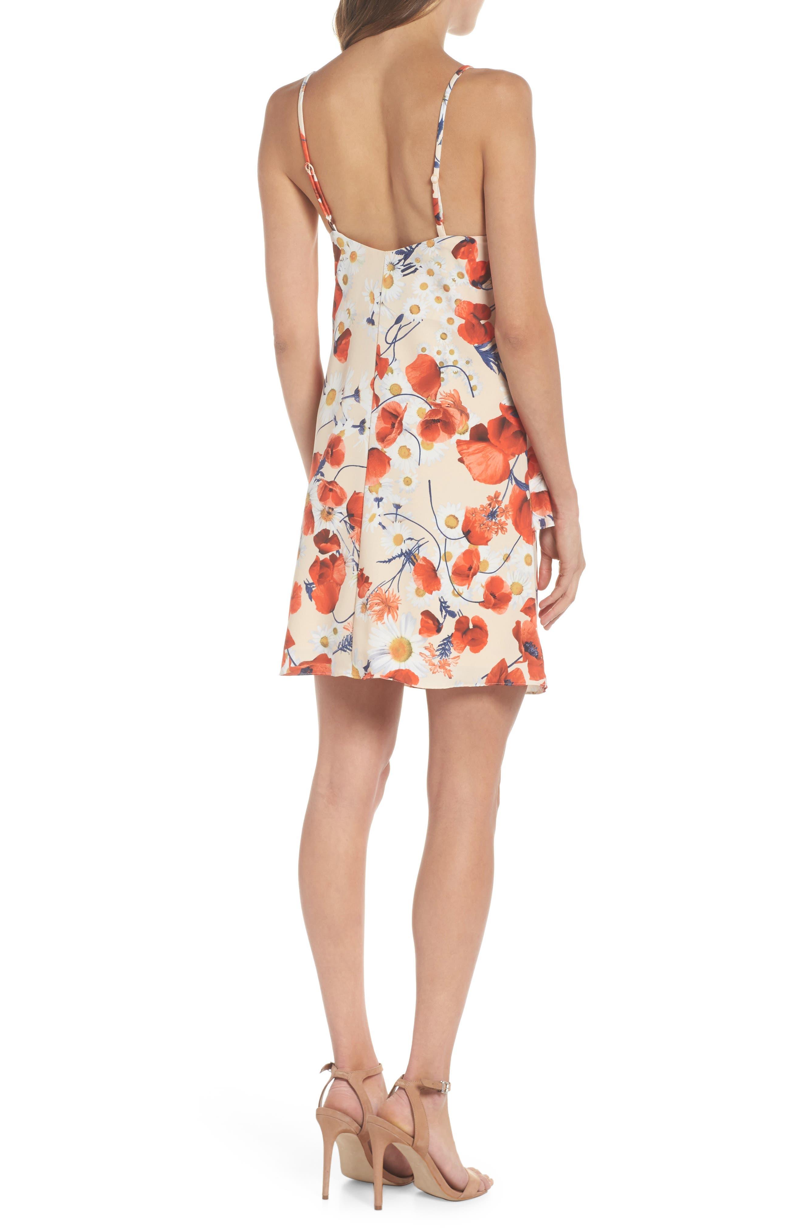 Cara Floral Layered Dress,                             Alternate thumbnail 2, color,                             Coral Floral