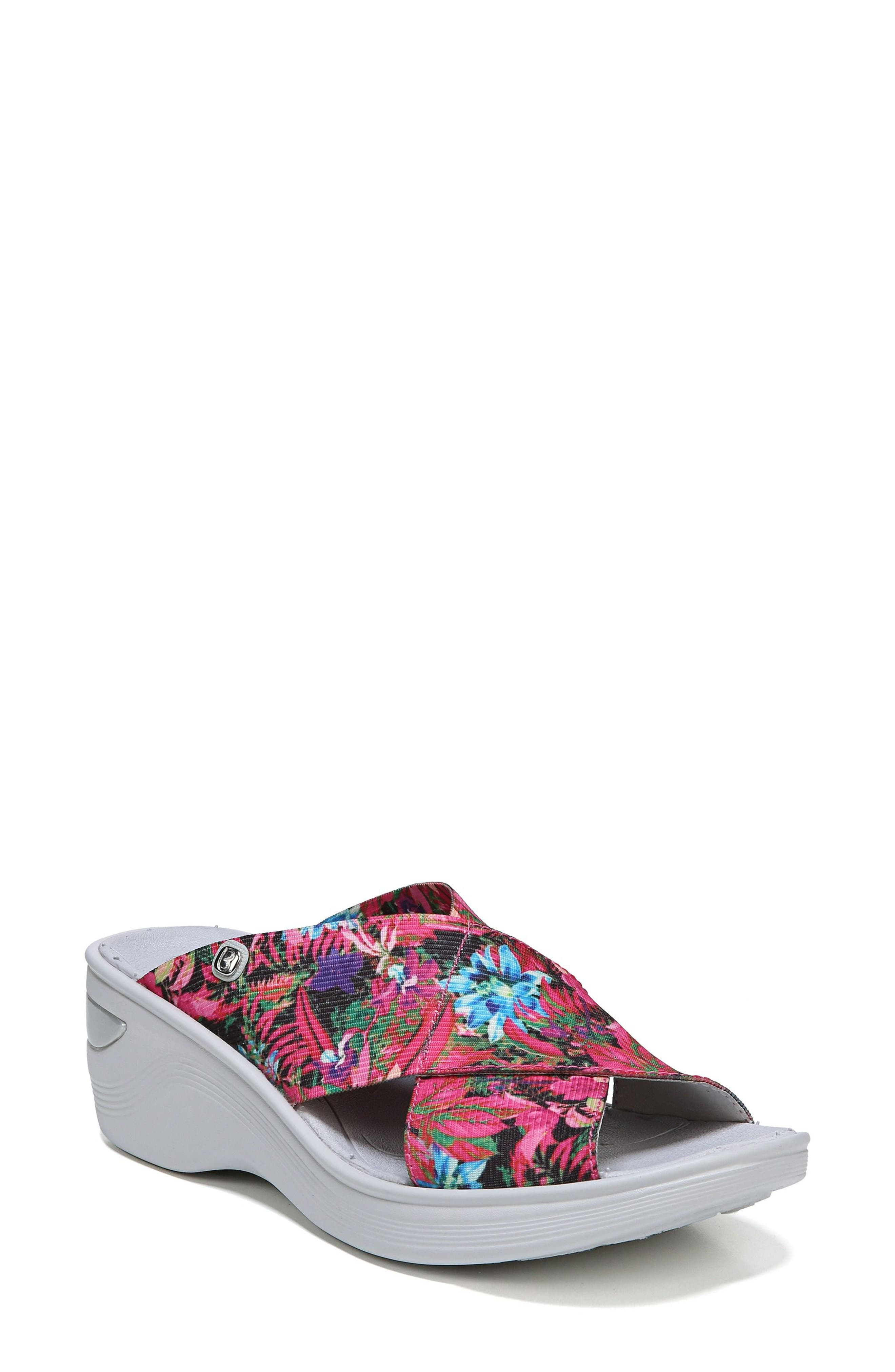 'Desire' Wedge Sandal,                             Main thumbnail 1, color,                             Pink Floral Fabric
