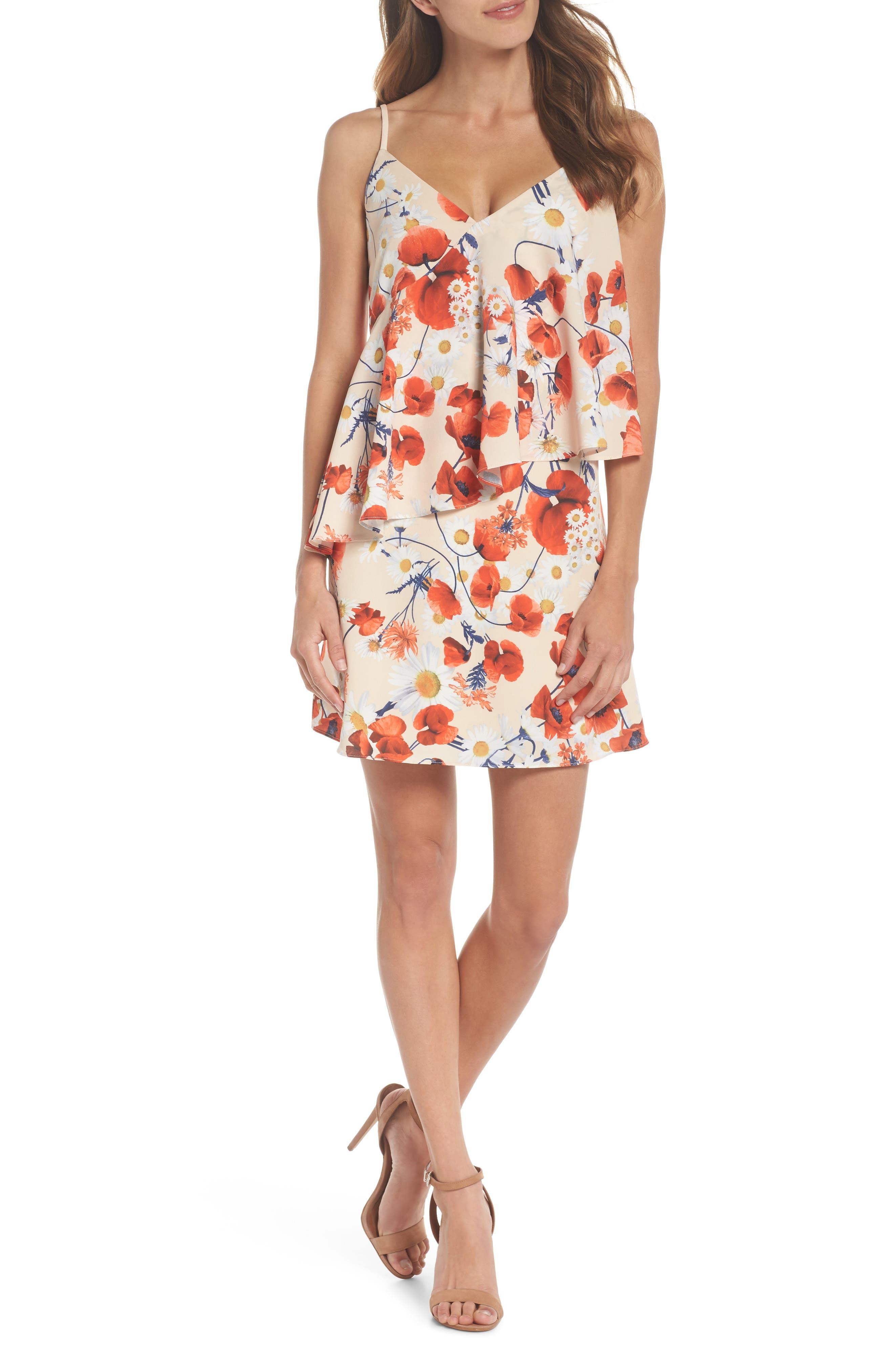 Cara Floral Layered Dress,                         Main,                         color, Coral Floral