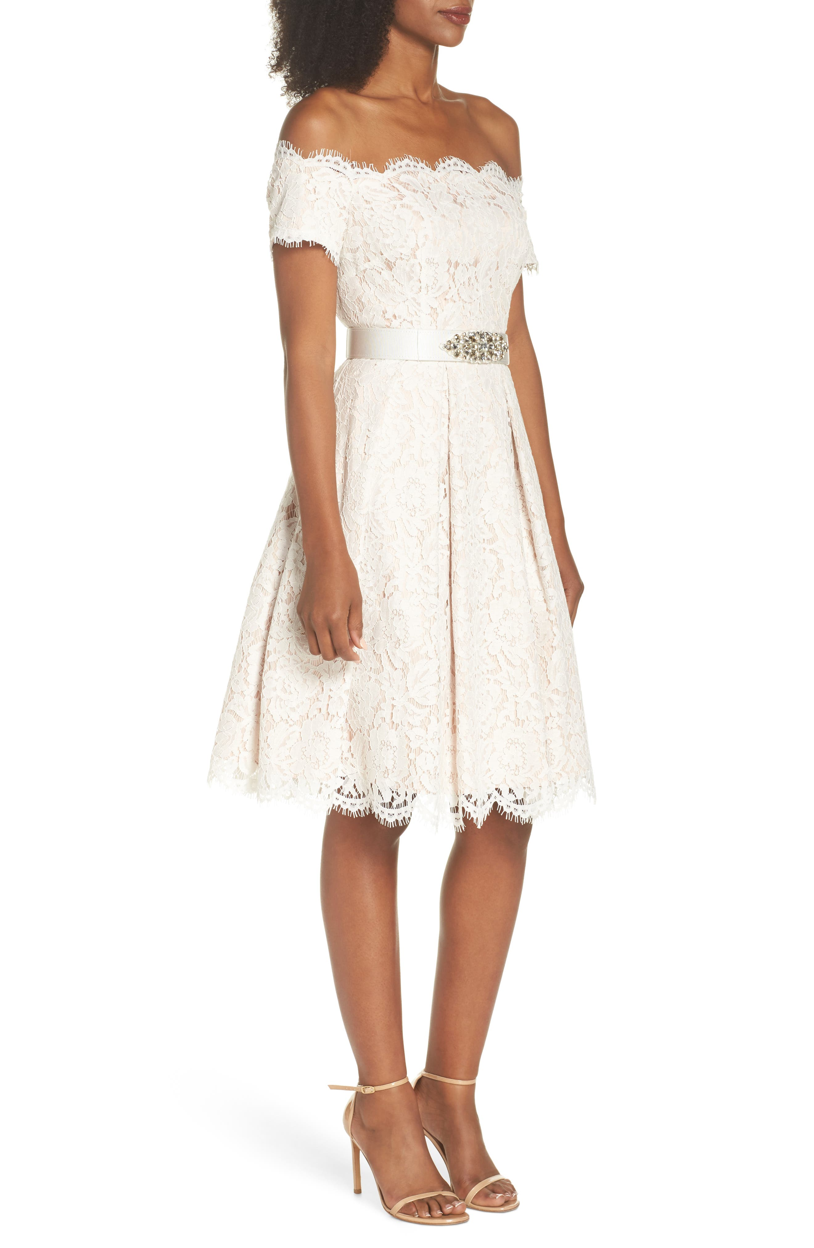 Embellished Lace Fit & Flare Dress,                             Alternate thumbnail 3, color,                             Ivory