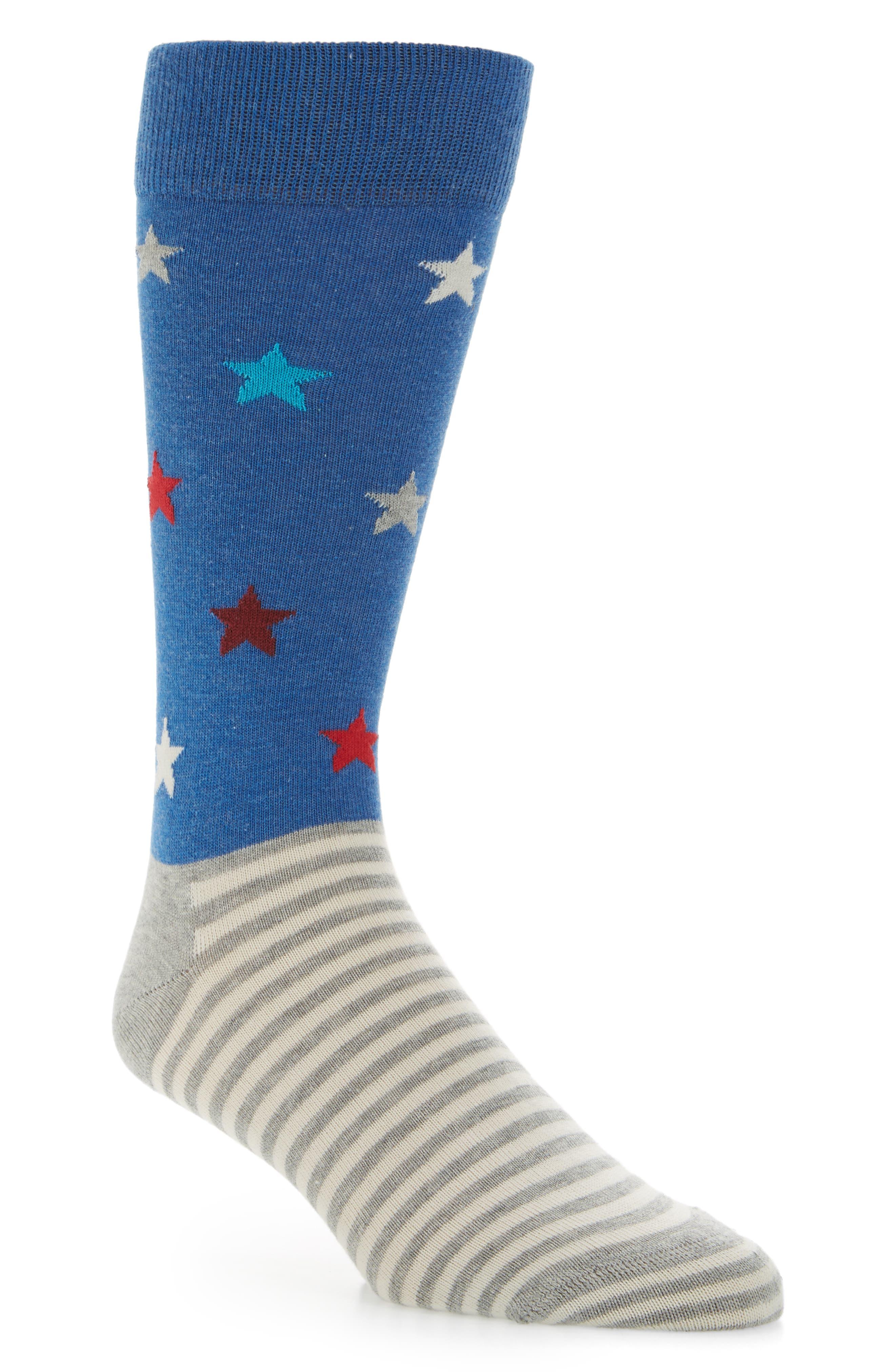 Stars & Stripes Socks,                             Main thumbnail 1, color,                             Blue Multi