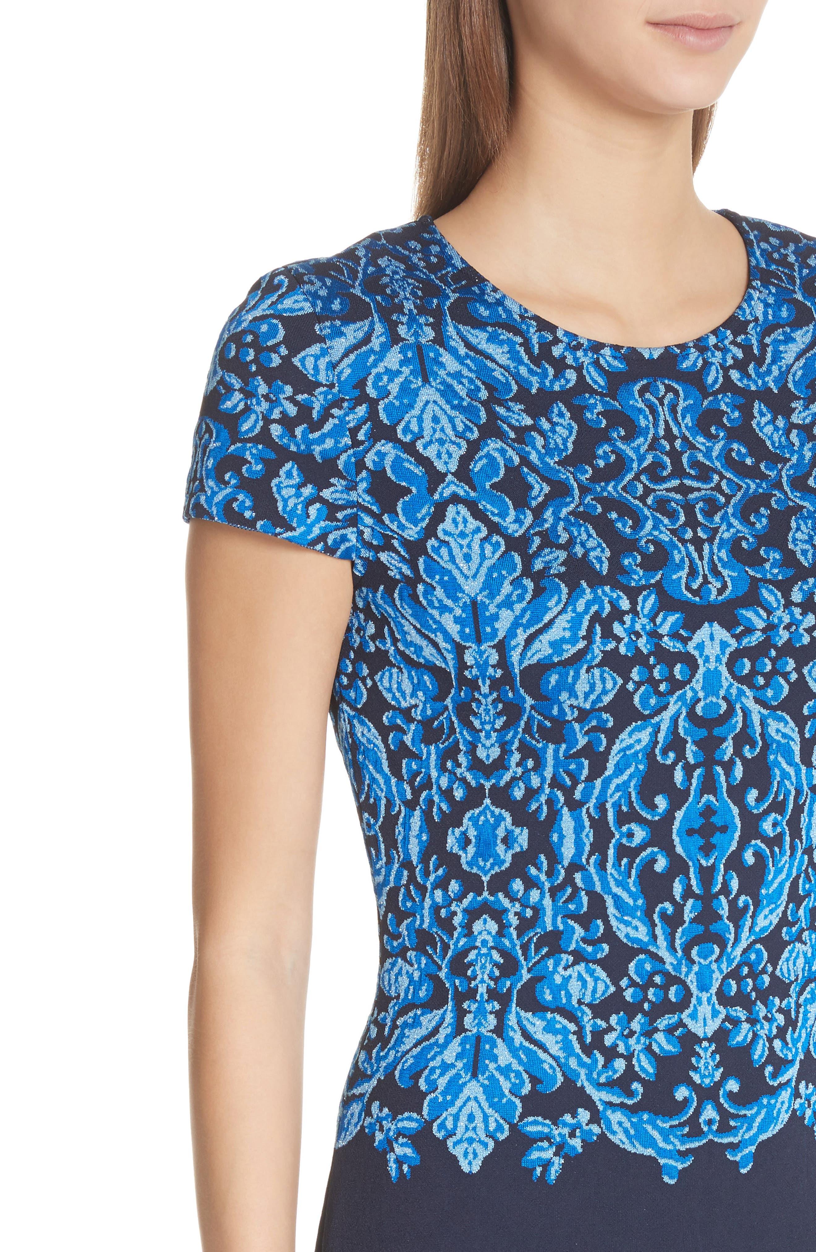Cool Tones Brocade Knit Dress,                             Alternate thumbnail 4, color,                             Cobalt Multi