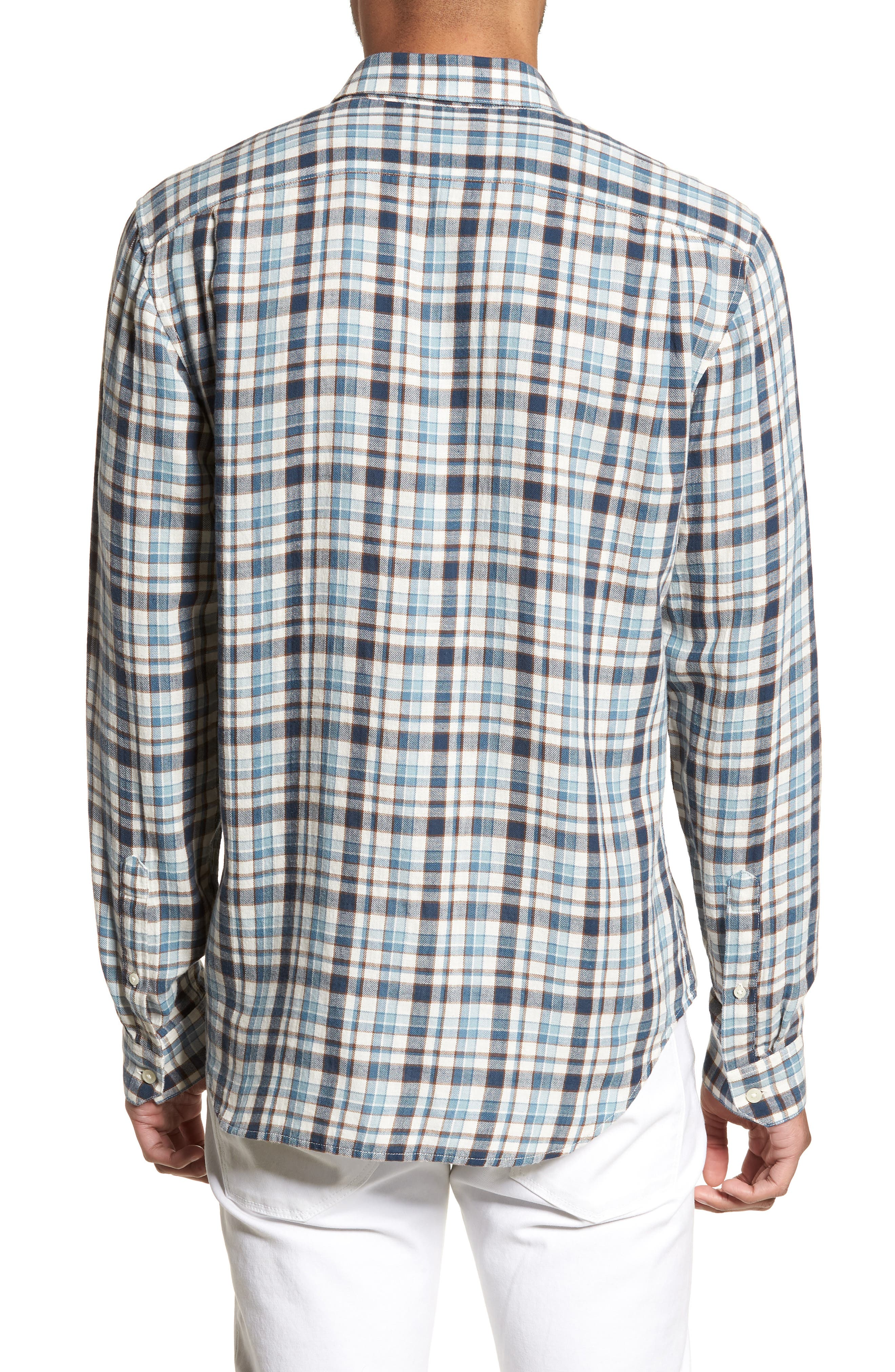 Slim Fit Plaid Sport Shirt,                             Alternate thumbnail 2, color,                             White/ Blue