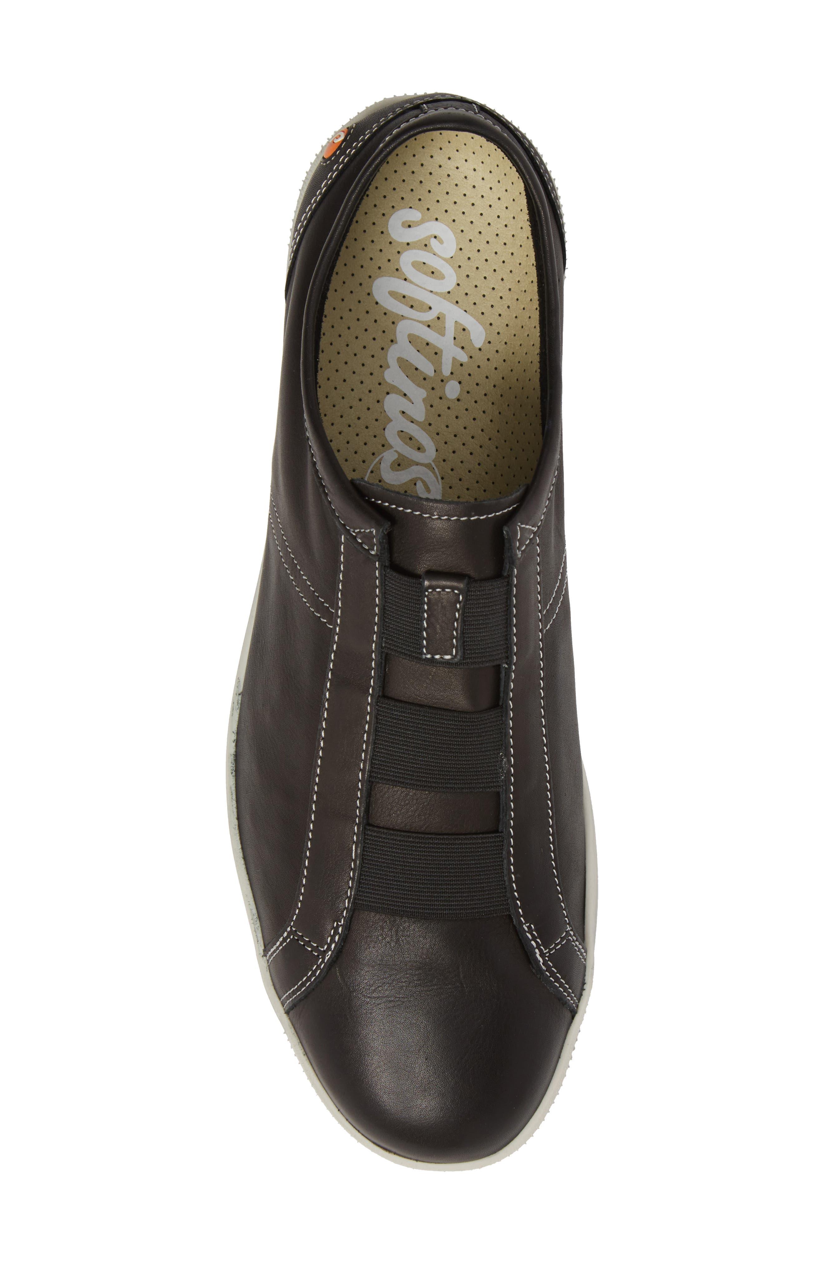 Tip Laceless Sneaker,                             Alternate thumbnail 5, color,                             Black Leather