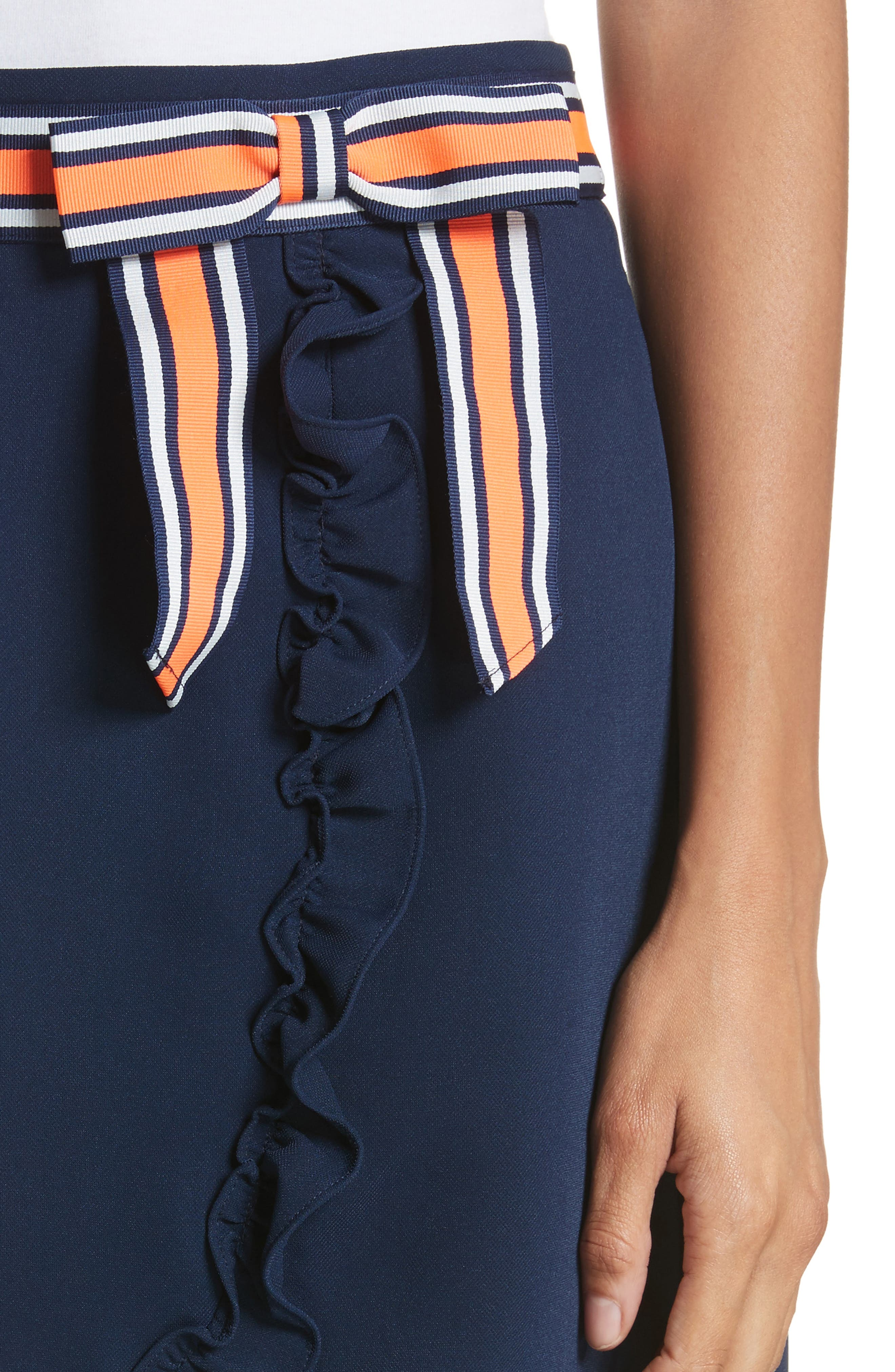 Xzenia Bow Miniskirt,                             Alternate thumbnail 4, color,                             Navy