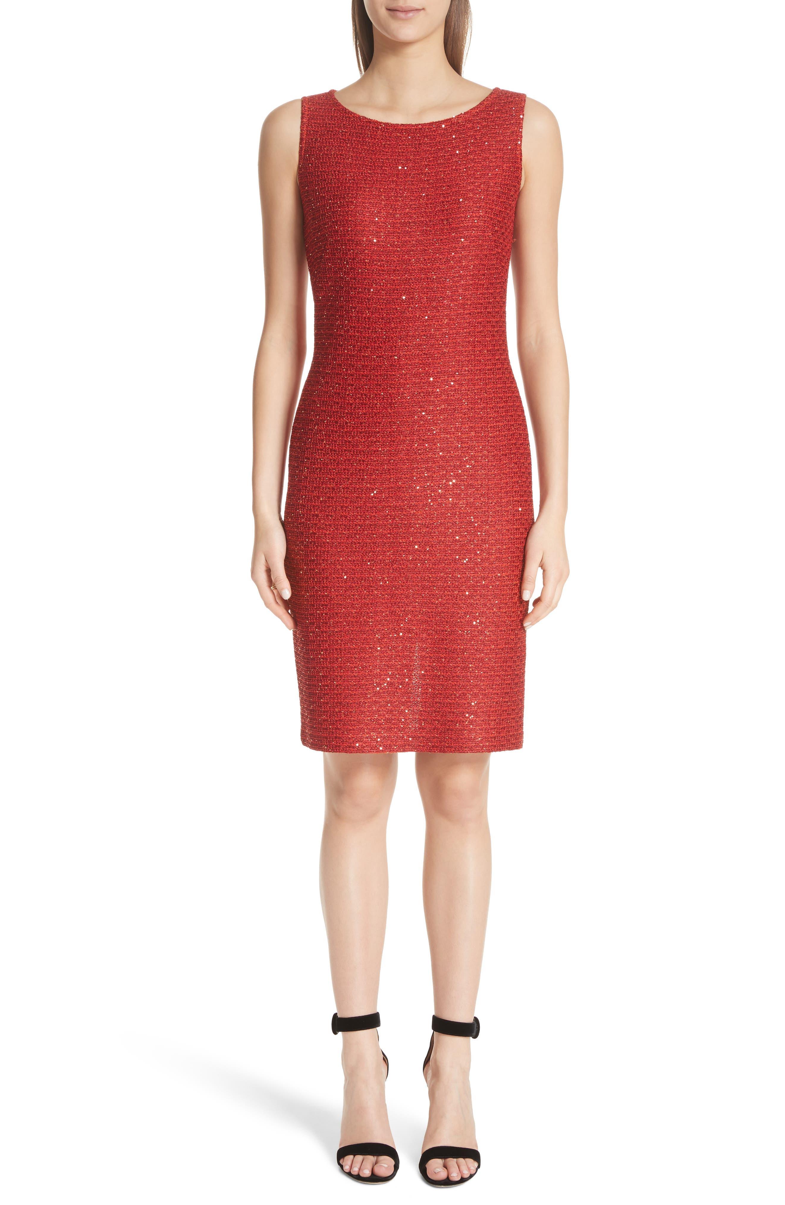 Glamour Sequin Knit Sheath Dress,                             Main thumbnail 1, color,                             Sienna Multi