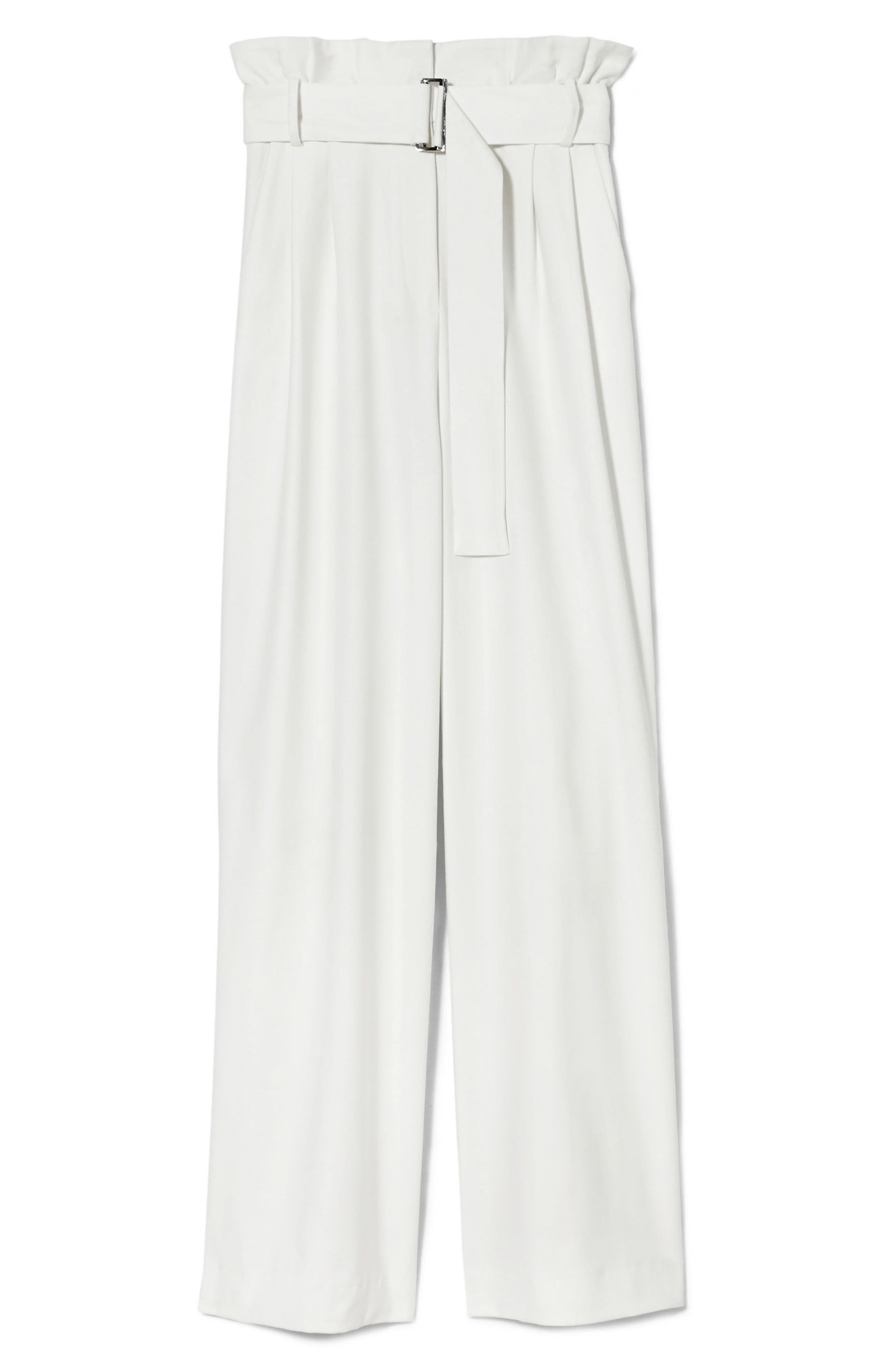 Wide Leg Belted Pants,                             Alternate thumbnail 4, color,                             New Ivory