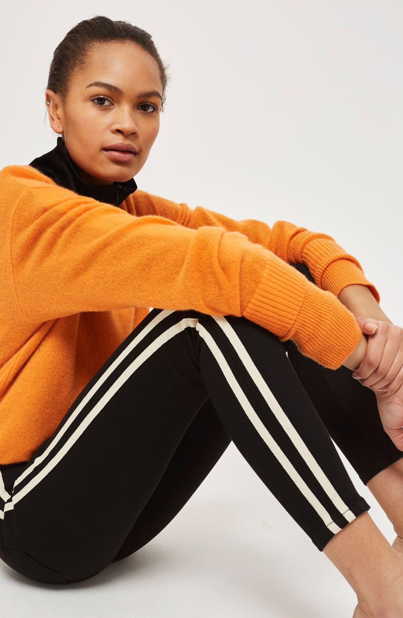 Moto Side Stripe Jeans,                             Alternate thumbnail 2, color,                             Black Multi