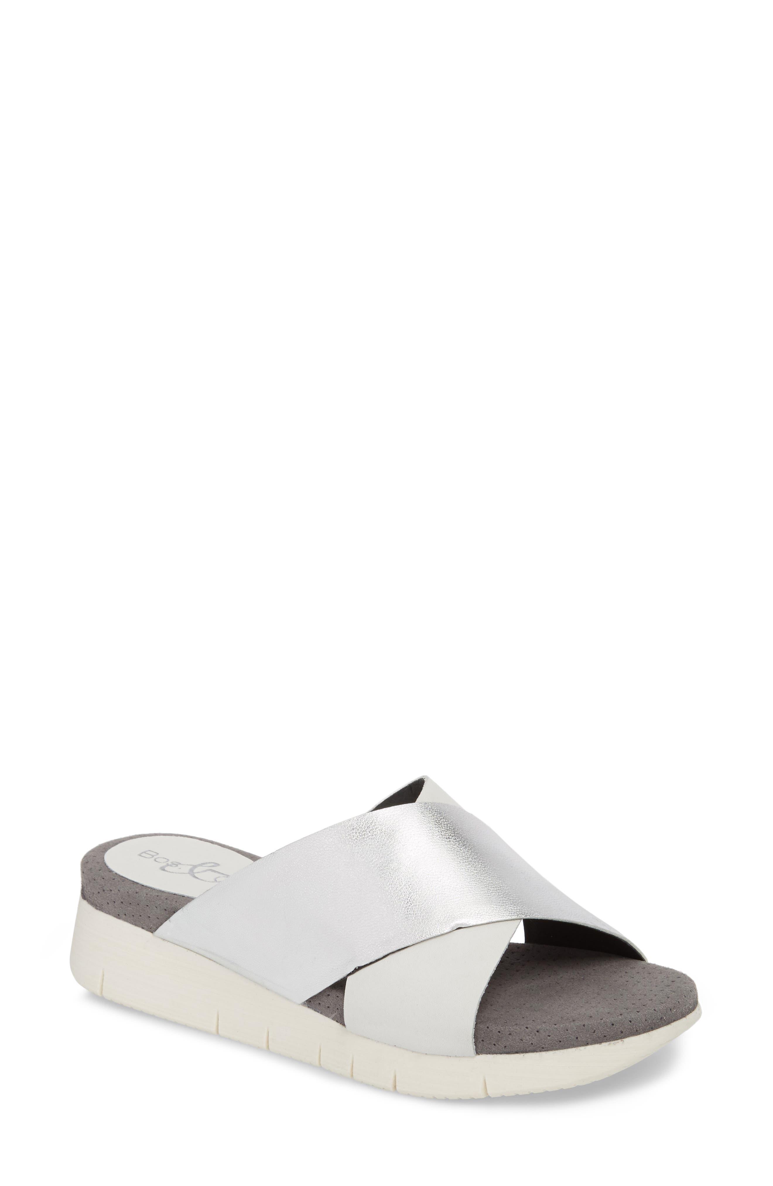 Piney Slide Sandal,                             Main thumbnail 1, color,                             White/ Silver Leather