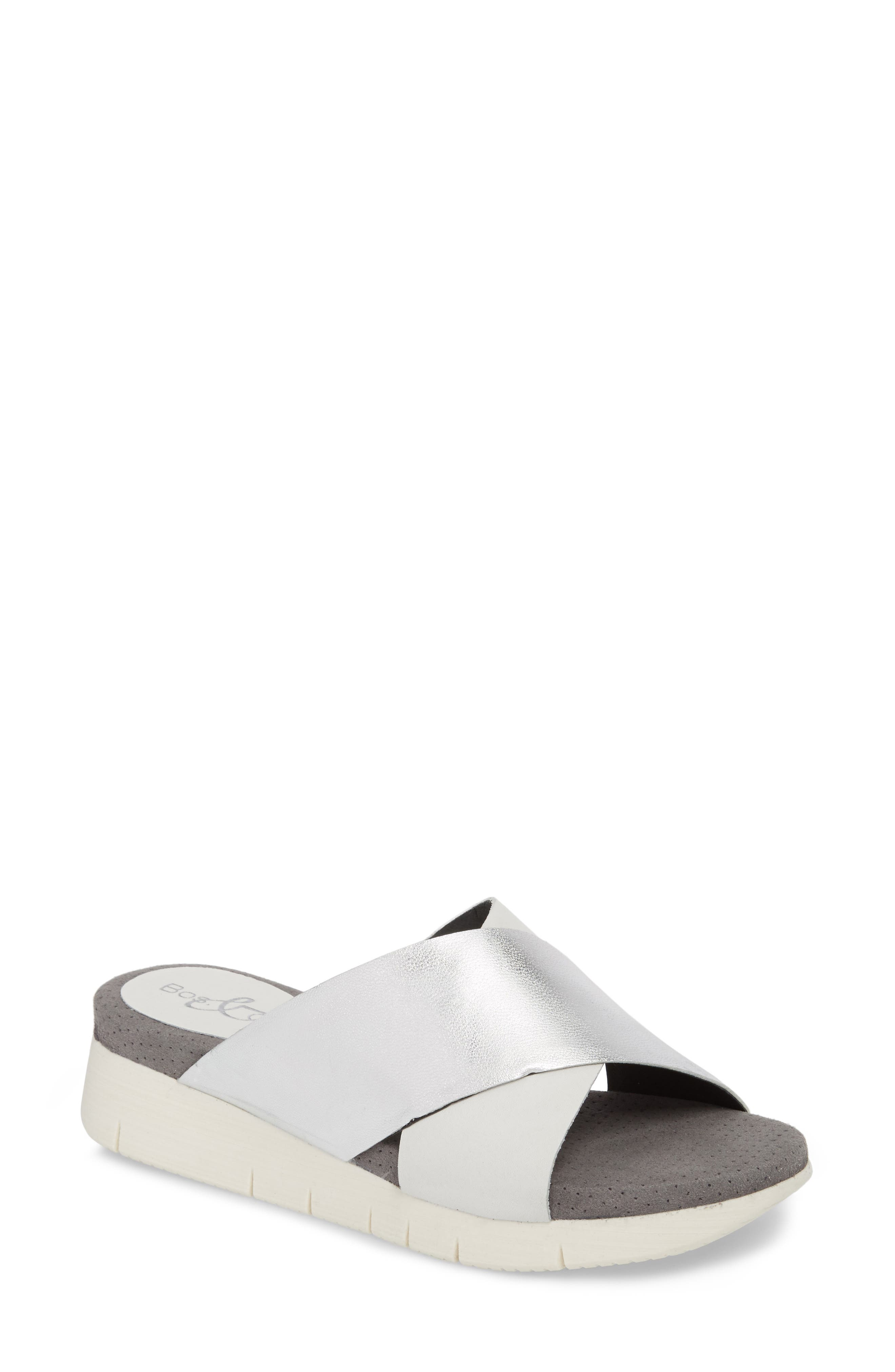 Piney Slide Sandal,                         Main,                         color, White/ Silver Leather