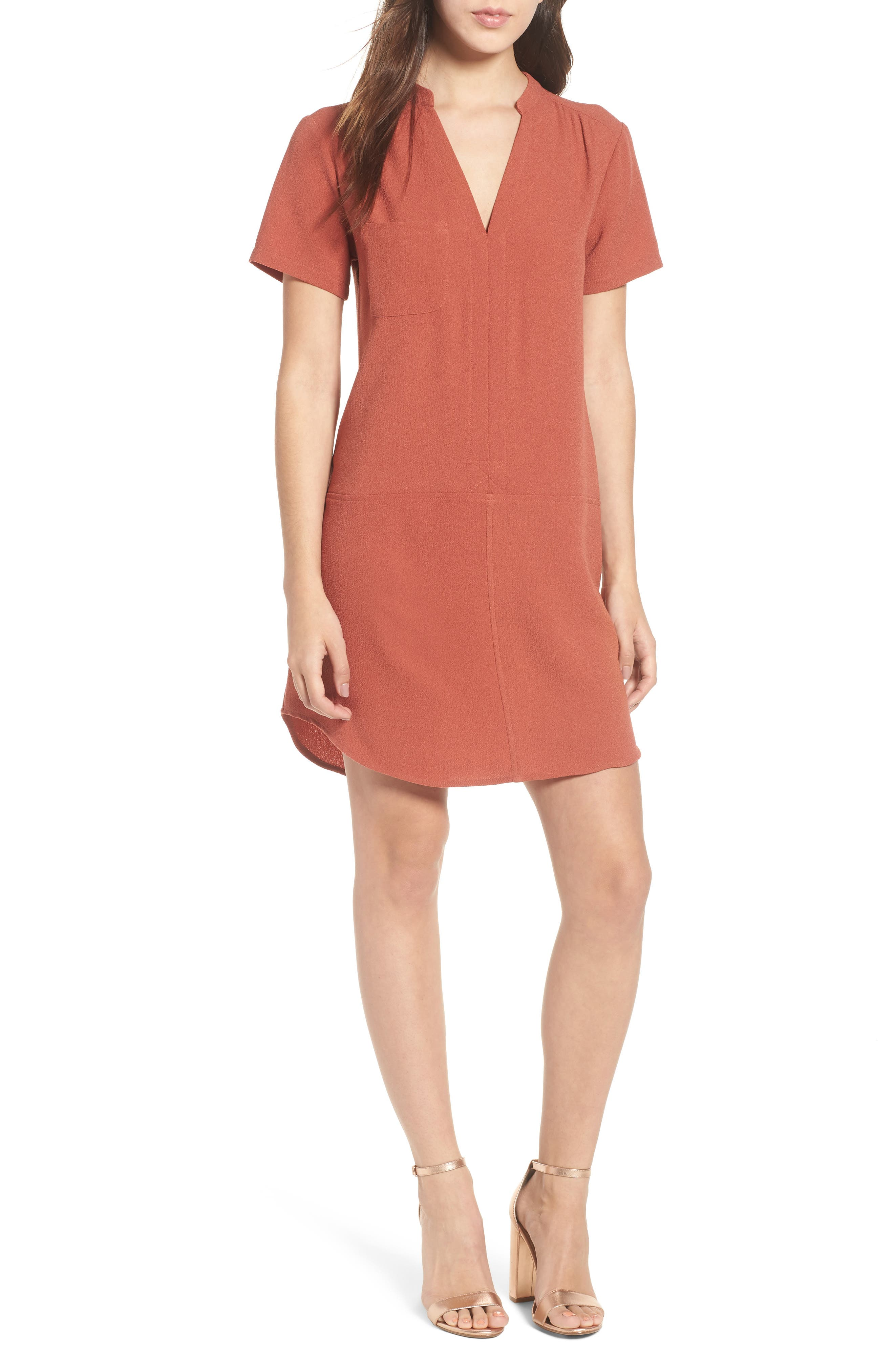 Hailey Crepe Dress,                             Main thumbnail 1, color,                             Rust Marsala