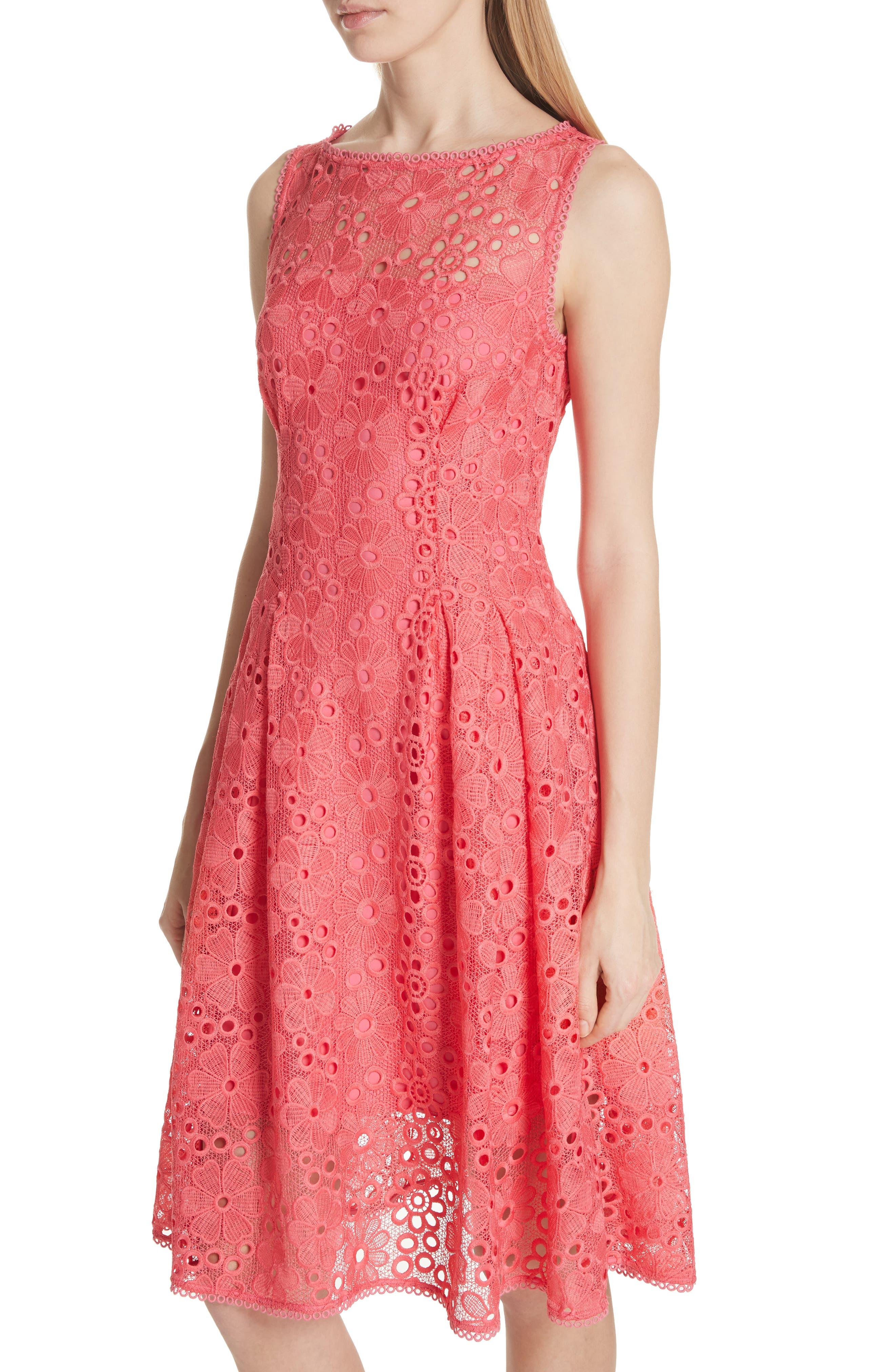 lace fit & flare dress,                             Alternate thumbnail 4, color,                             Peach Sherbet