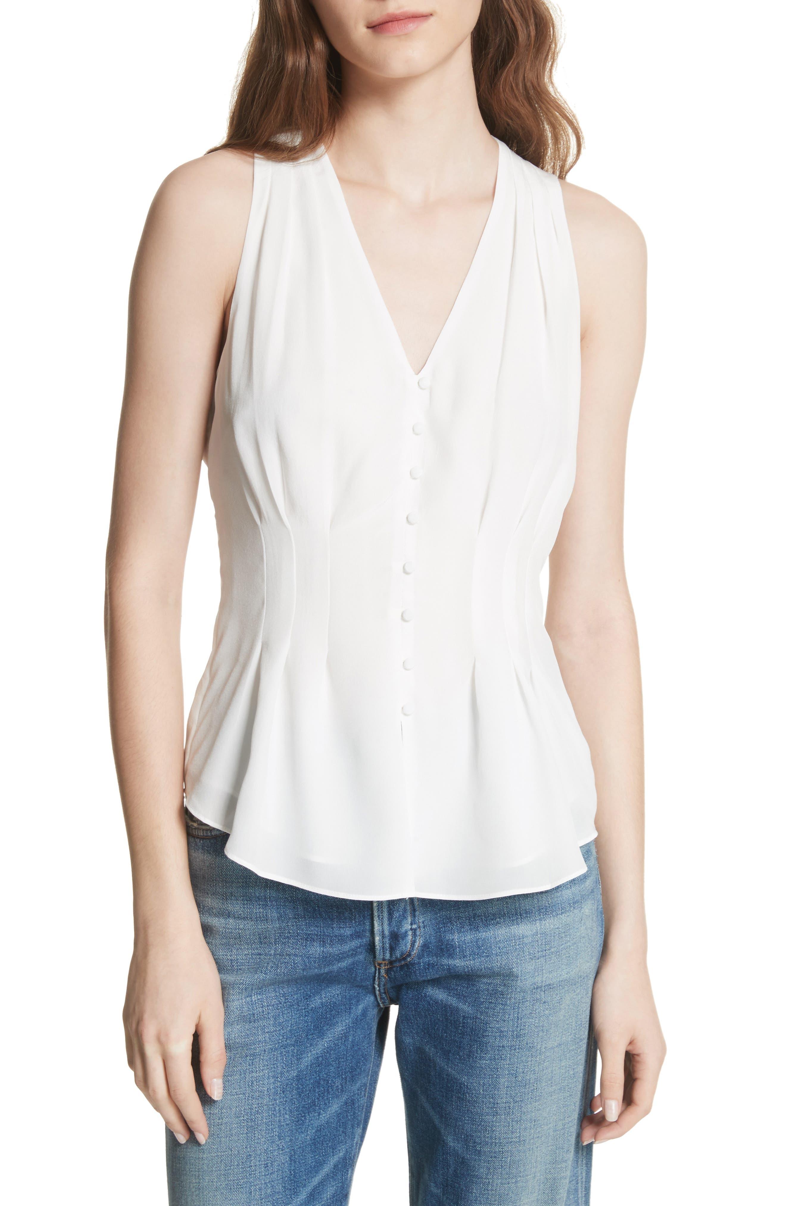 Eulalia Woven Sleeveless Silk Top,                         Main,                         color, Porcelain