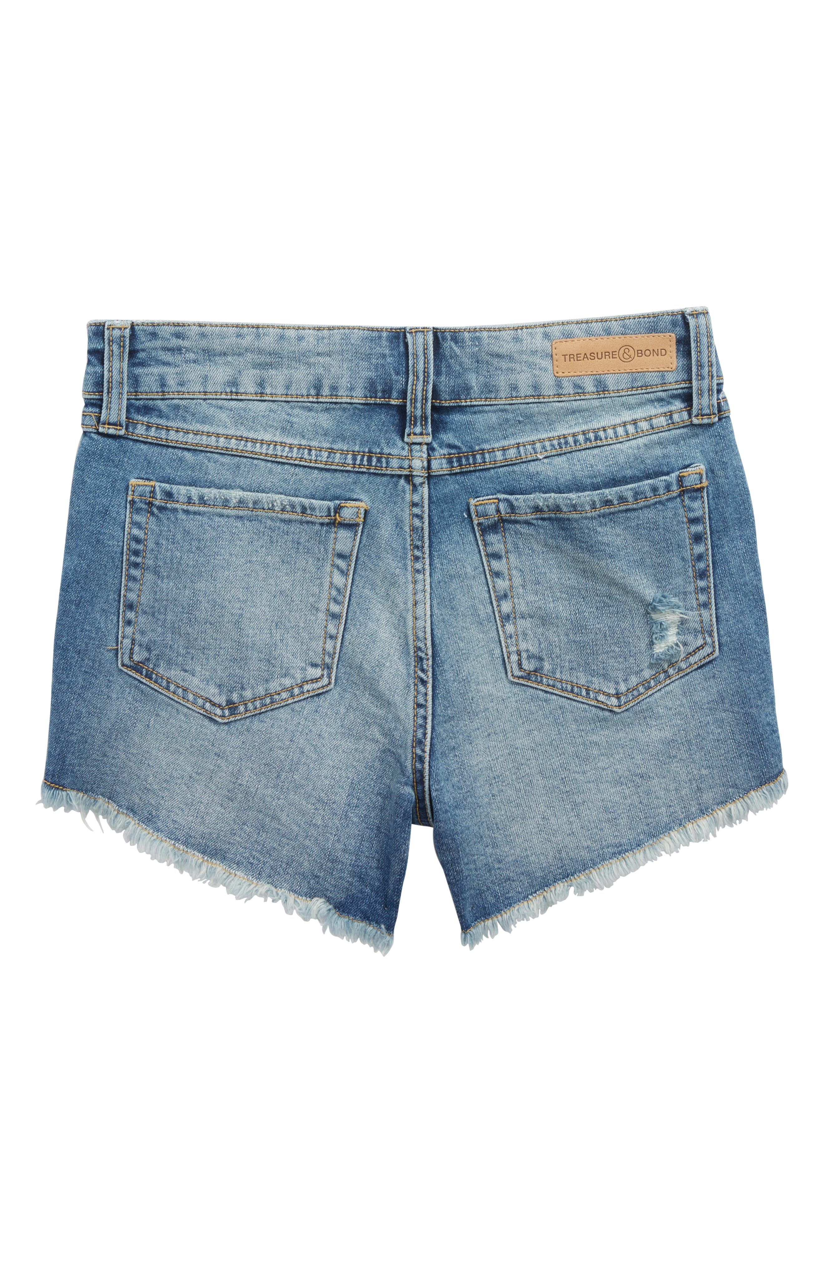 Distressed Cutoff Denim Shorts,                             Alternate thumbnail 2, color,                             Old School Wash