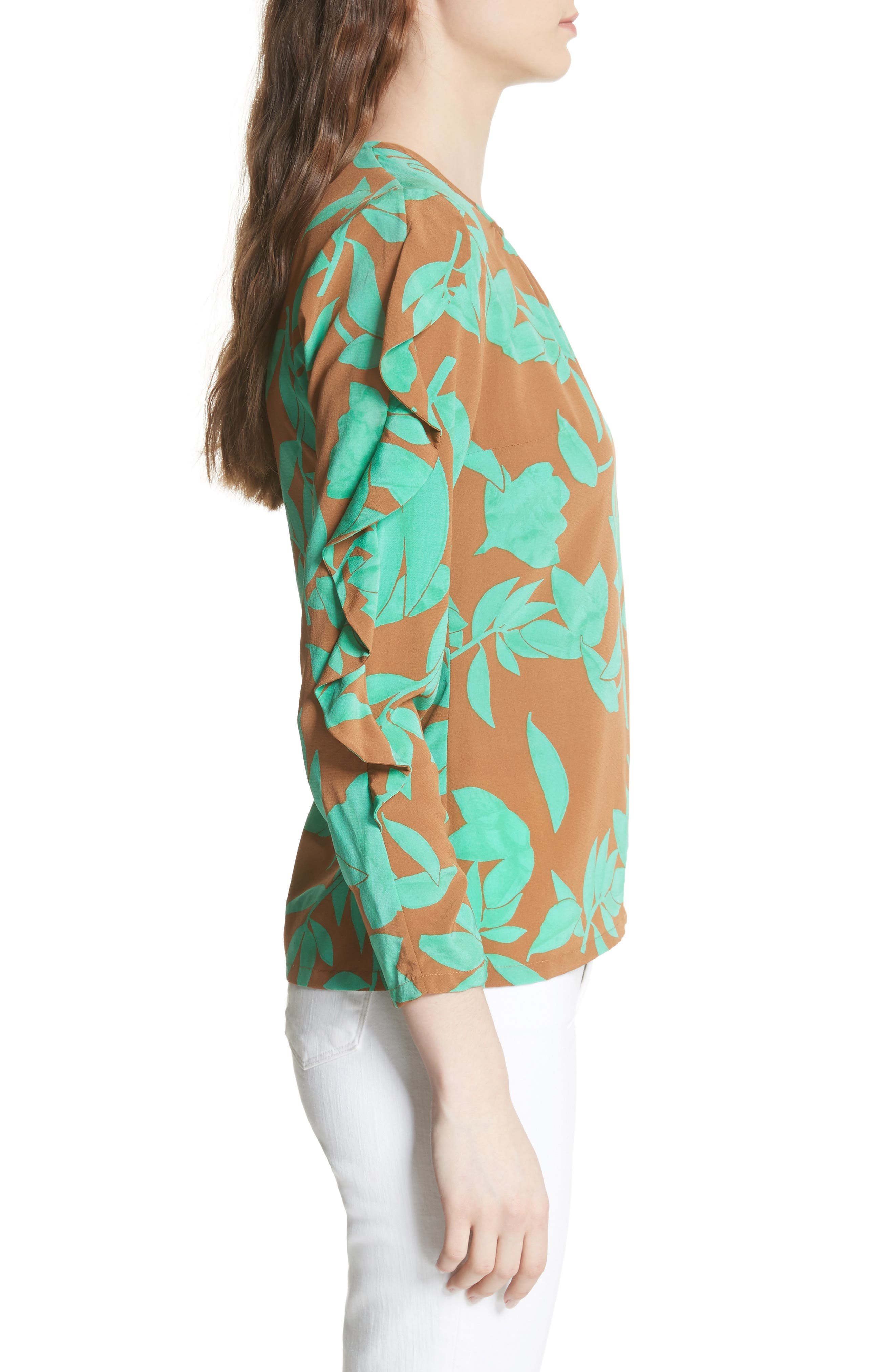 Frilled Floral Stretch Silk Top,                             Alternate thumbnail 3, color,                             Acorn/ Jade