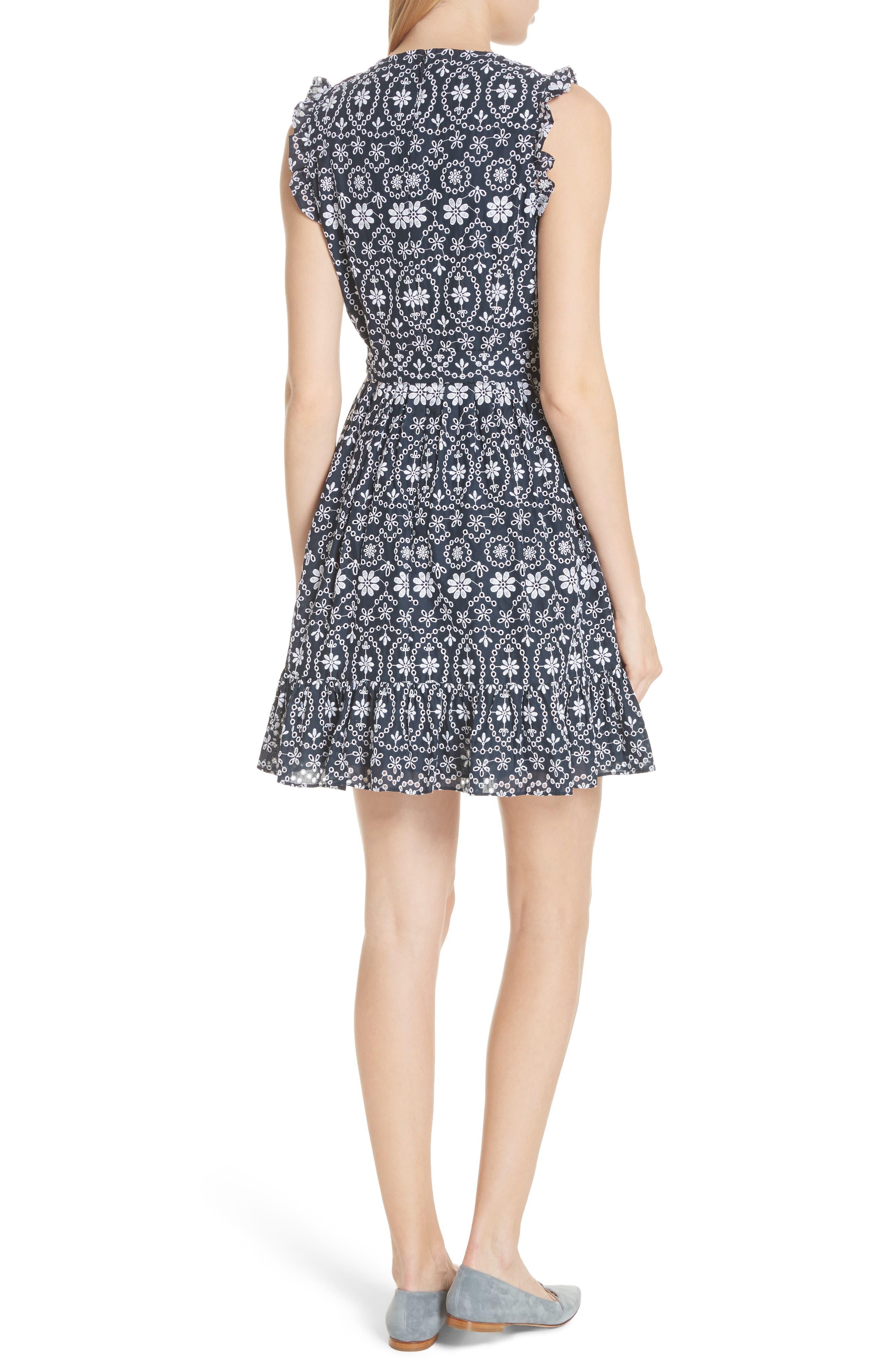 eyelet fit & flare dress,                             Alternate thumbnail 2, color,                             Rich Navy/ Fresh White