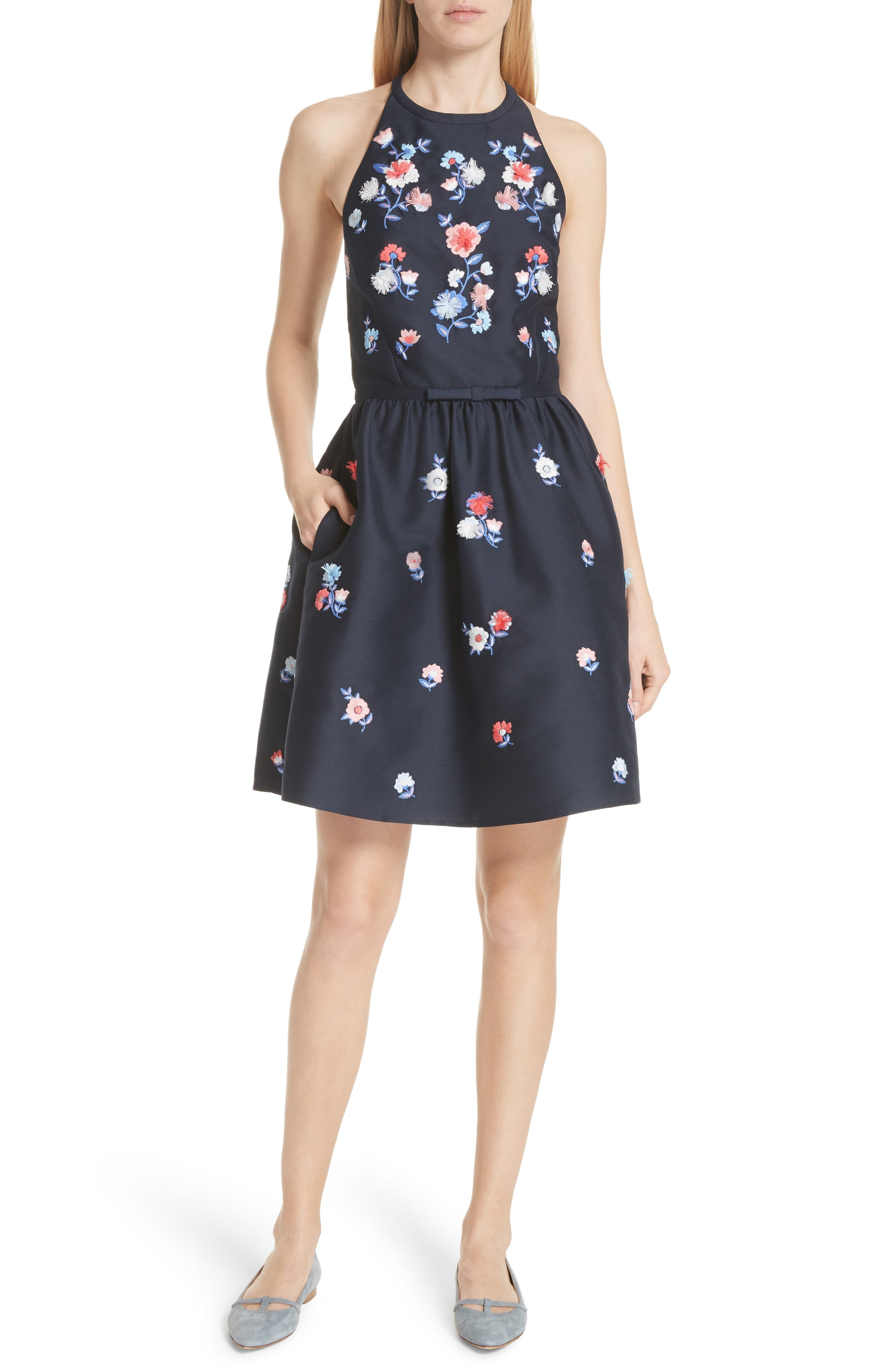 pom pom embrroidered fit & flare dress,                         Main,                         color, Rich Navy