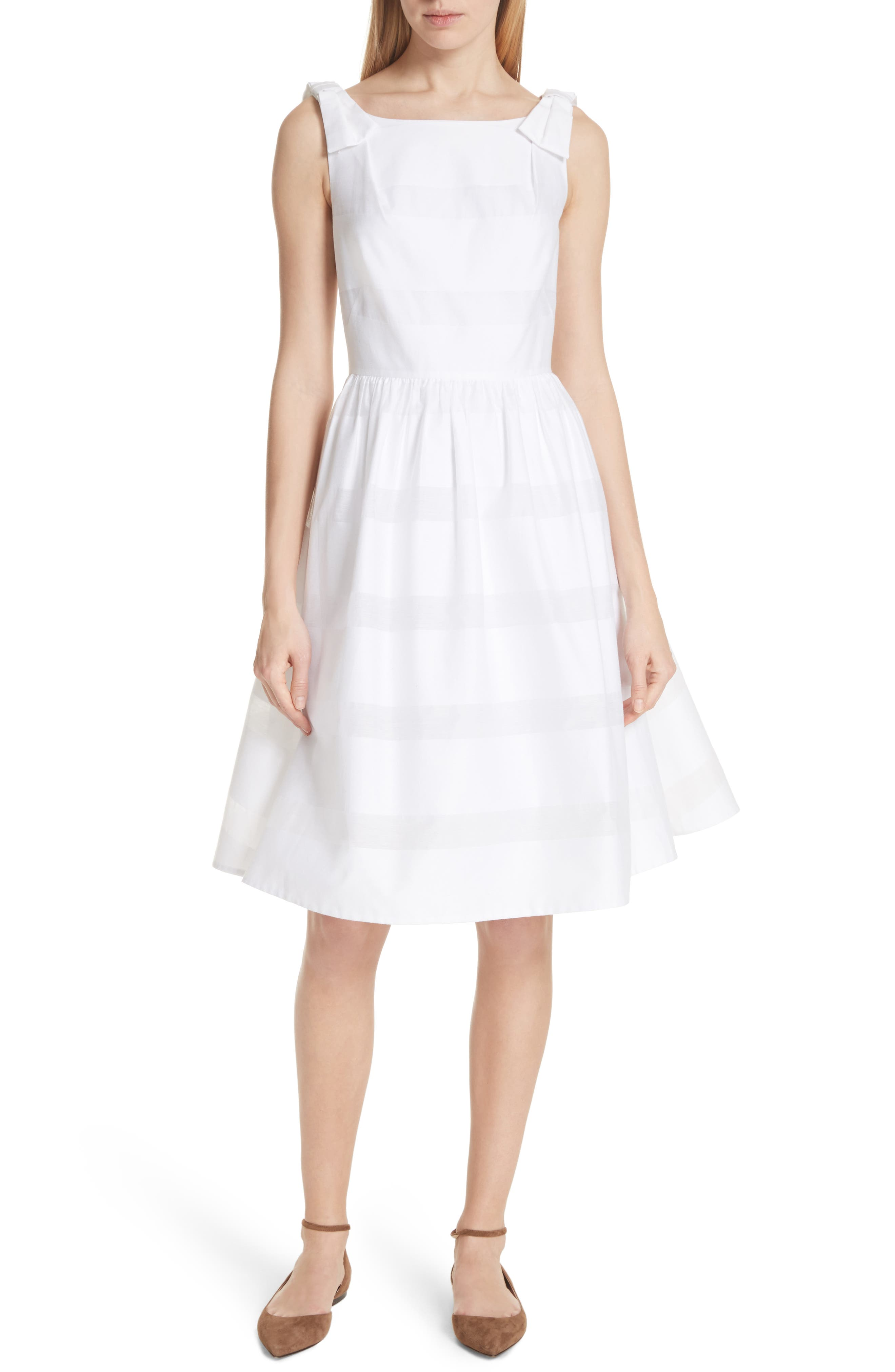 tonal stripe fit & flare dress,                         Main,                         color, Fresh White