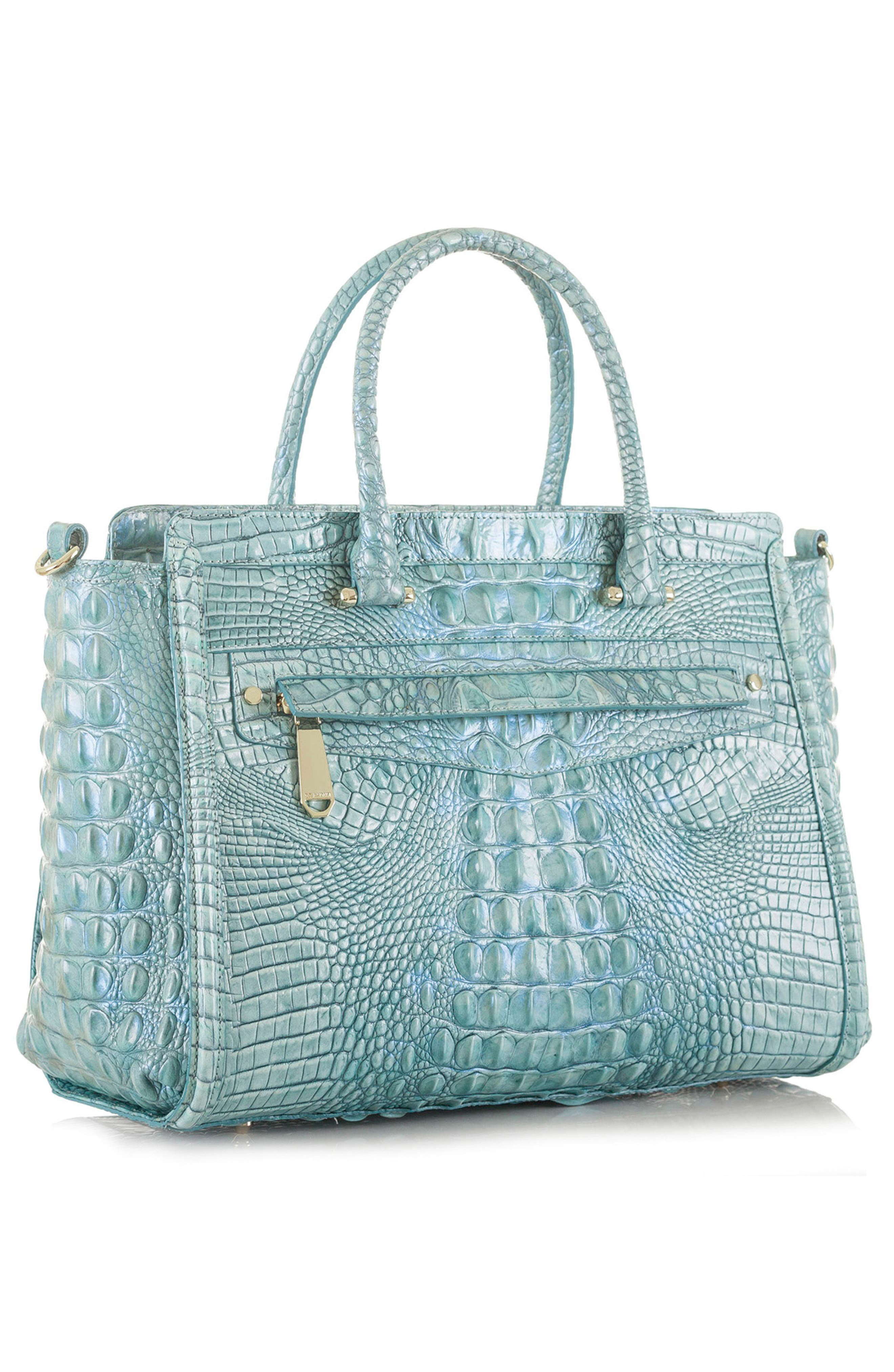 Harper Embossed Leather Satchel,                             Alternate thumbnail 4, color,                             Astral
