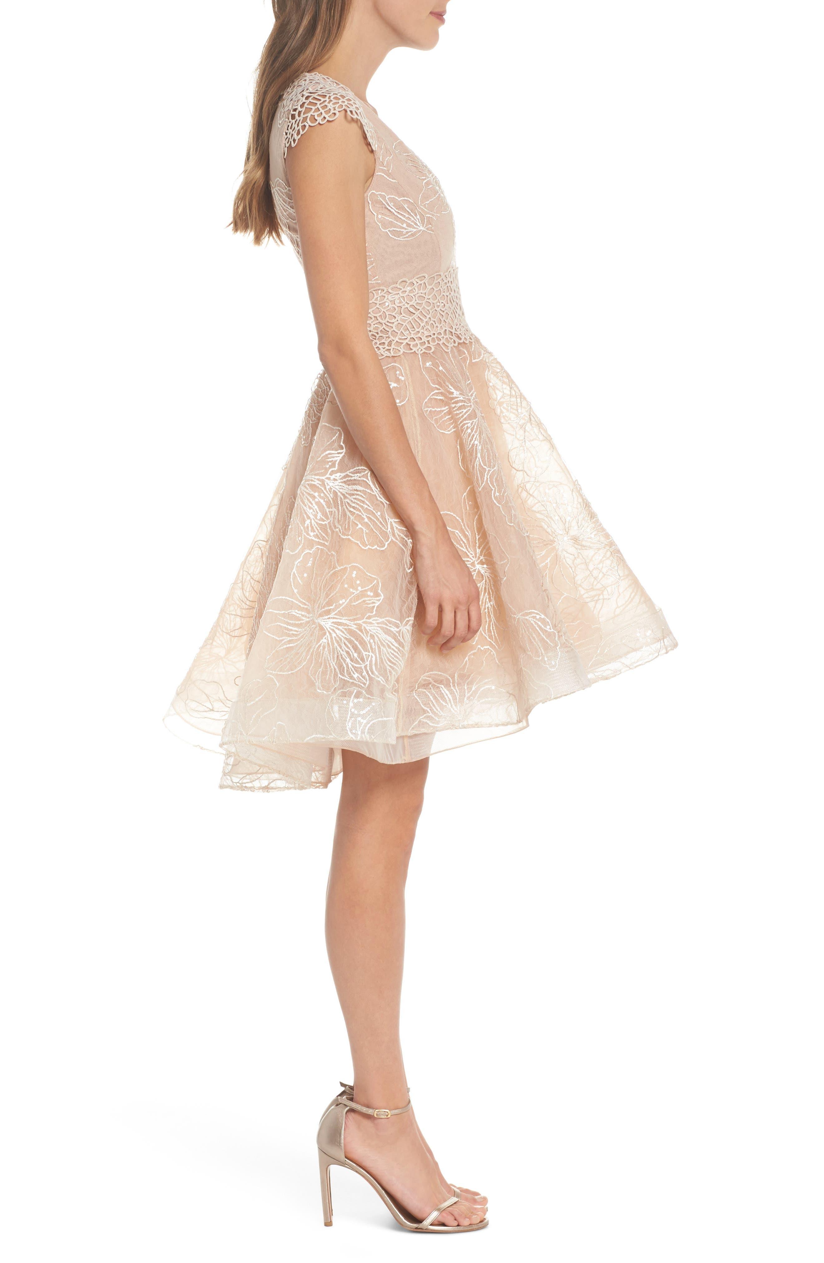 Fiore Sequin Fit & Flare Dress,                             Alternate thumbnail 3, color,                             Beige