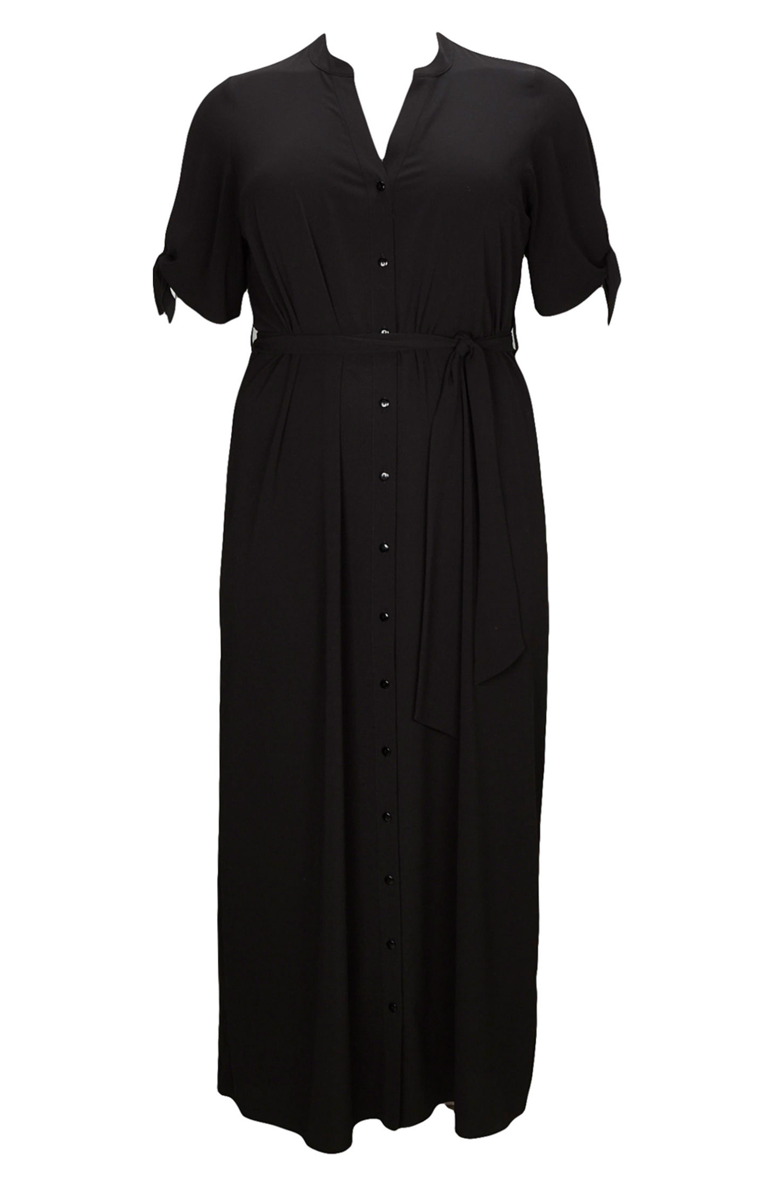 Tie Sleeve Maxi Shirtdress,                             Alternate thumbnail 5, color,                             Black