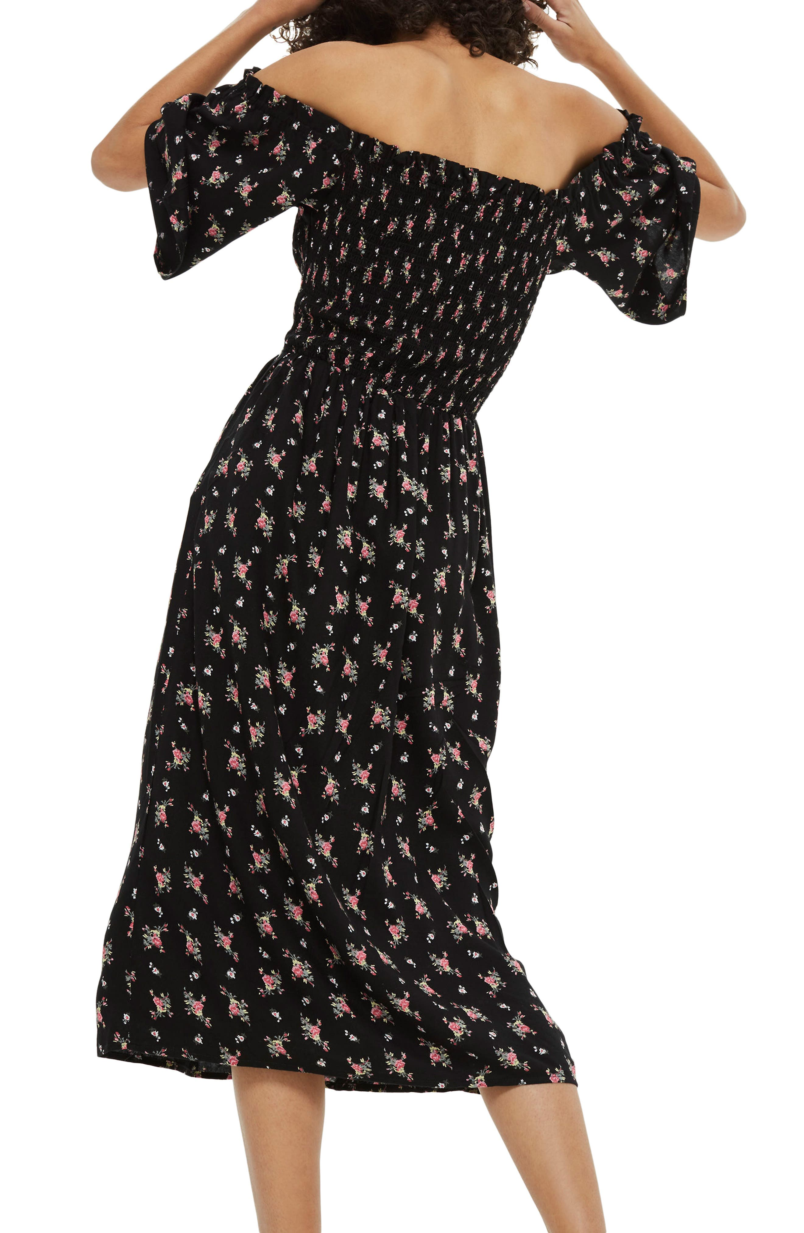 Shirred Bell Sleeve Midi Dress,                             Alternate thumbnail 3, color,                             Black Multi
