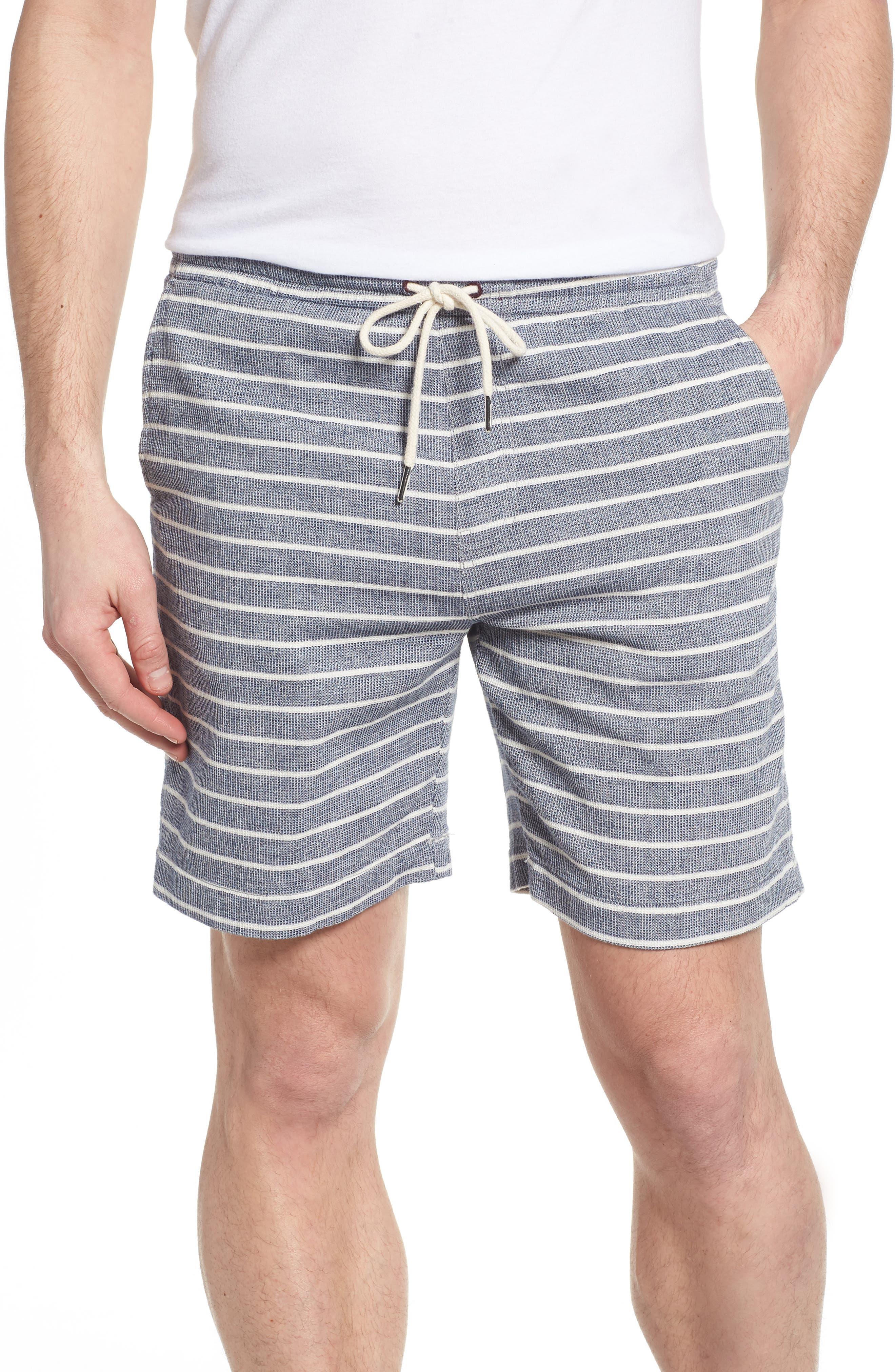Steve Stripe Pull-On Shorts,                             Main thumbnail 1, color,                             Blue / White