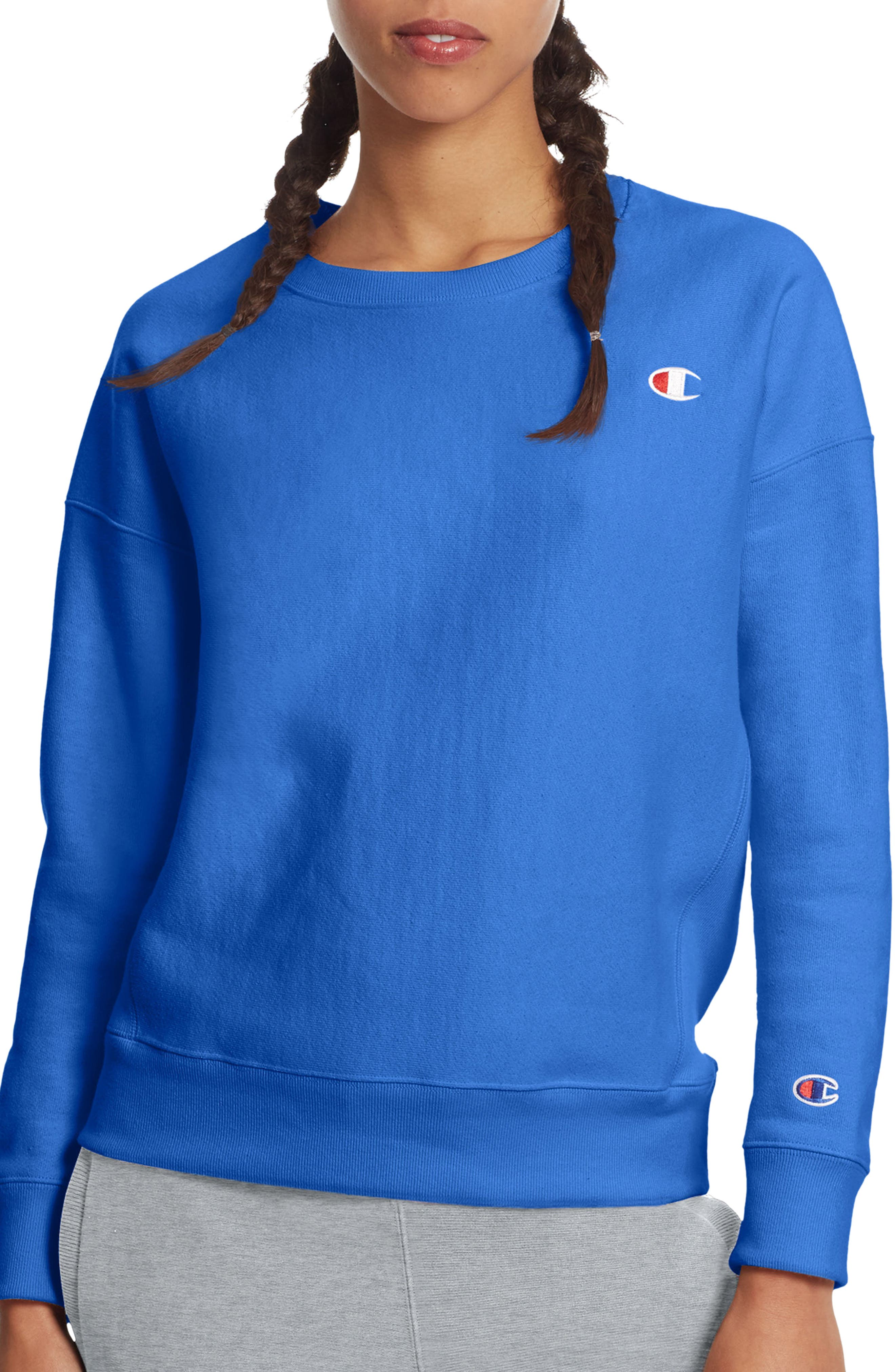 Reverse Weave Crew Sweatshirt,                         Main,                         color, Groove Blue