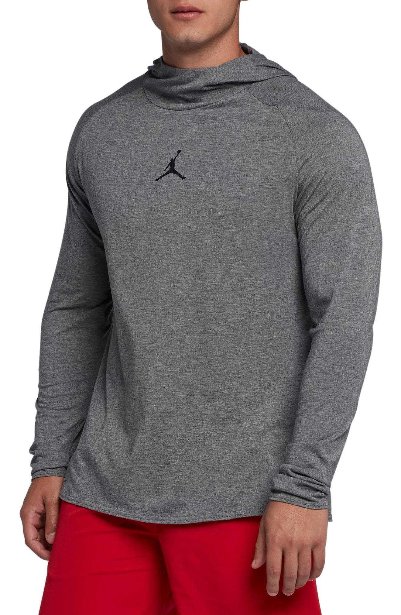 Nike Dry 23 Alpha Hooded Shirt,                         Main,                         color, Carbon Heather/ Black